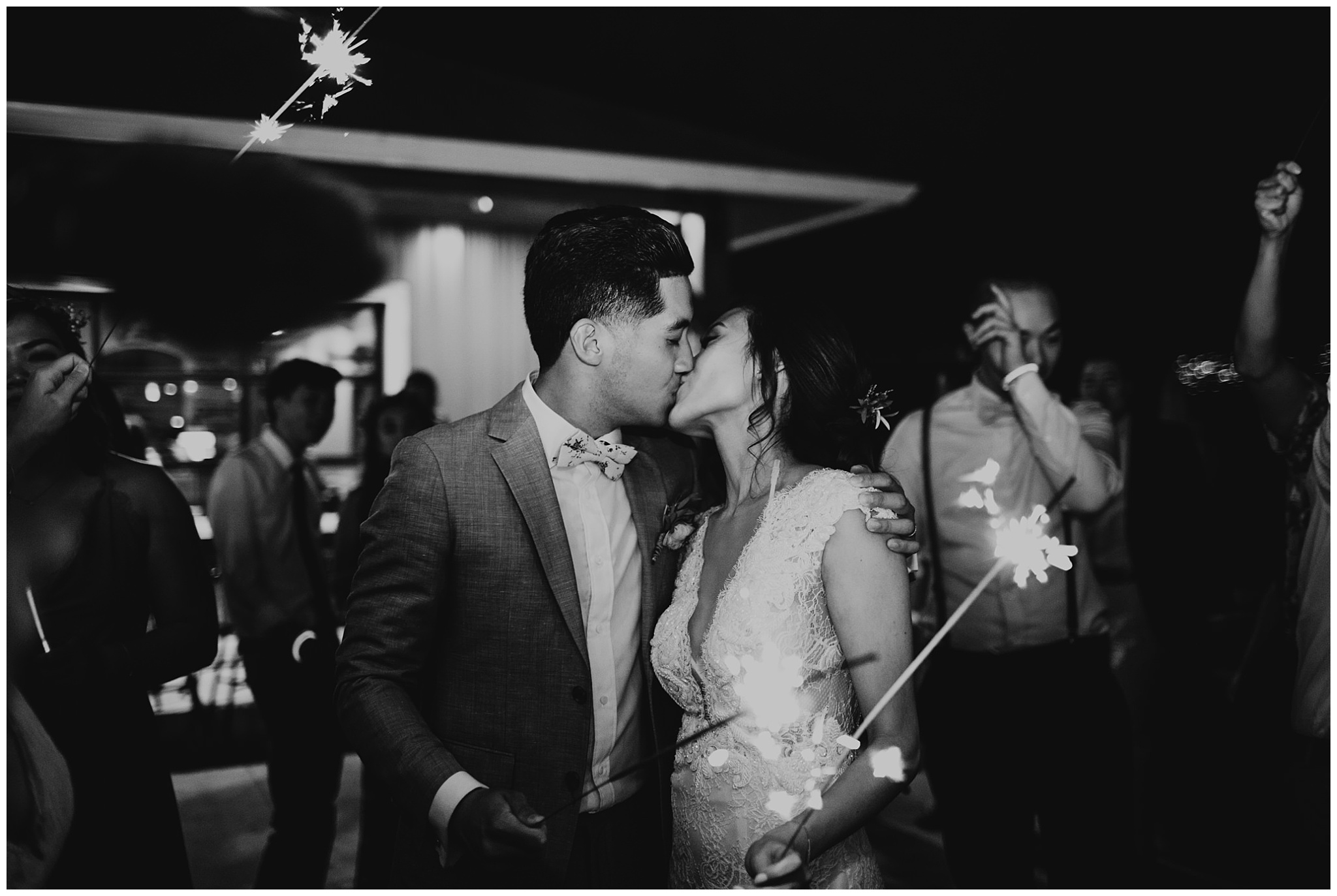 bride and groom sparkler exit at krause berry farm wedding