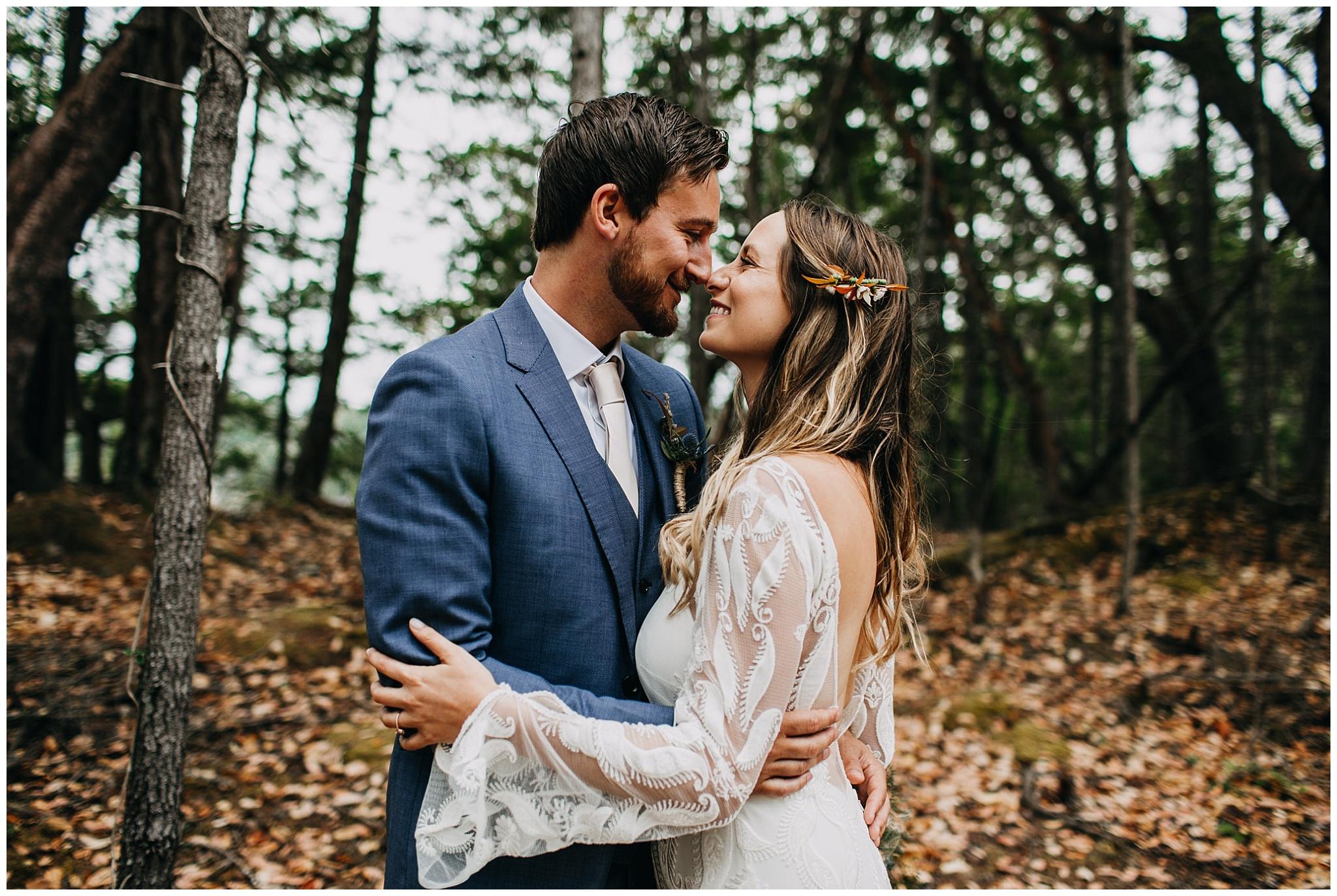bride and groom portrait at mayne island backyard wedding