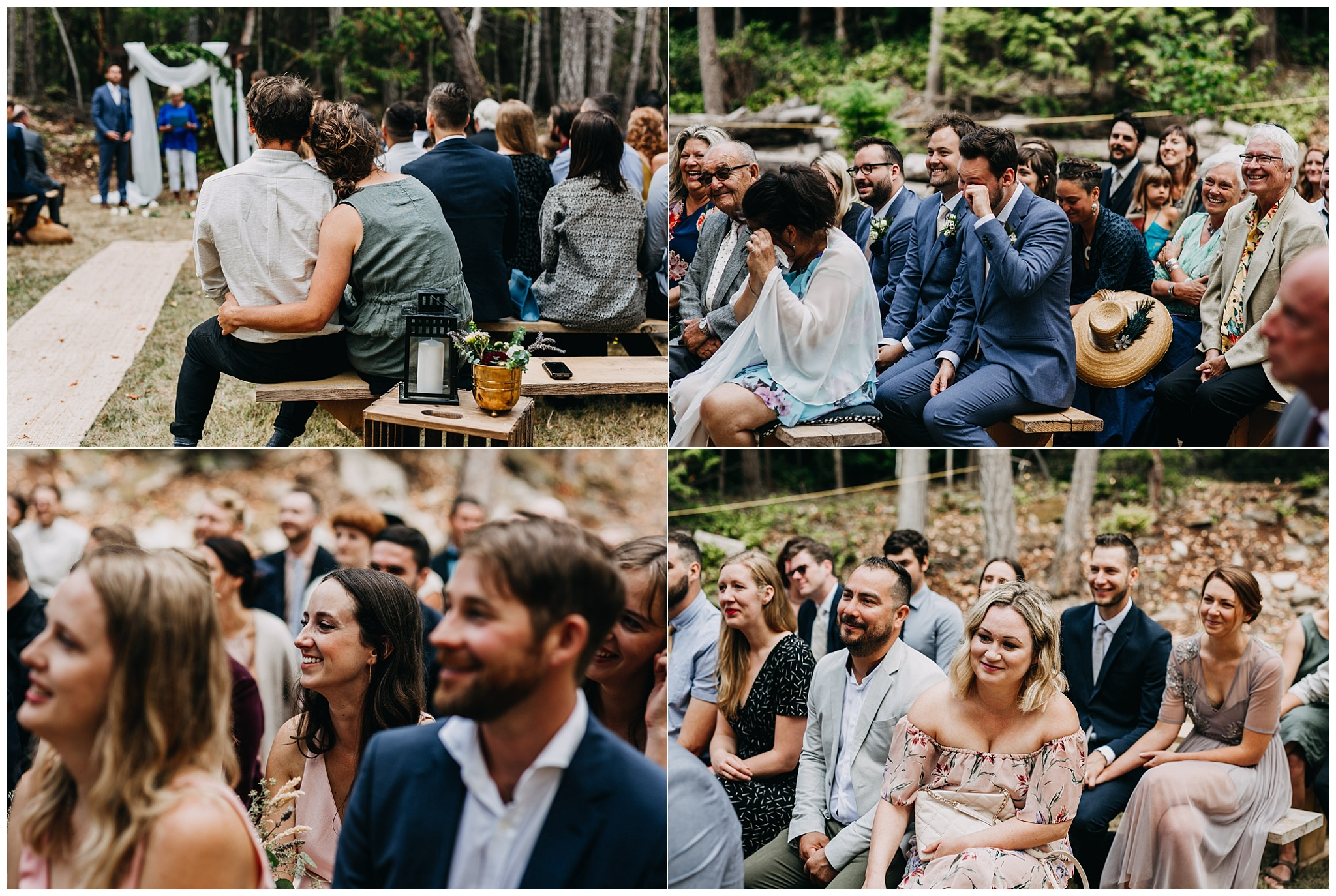 guests reaction at unplugged ceremony at intimate mayne island backyard wedding