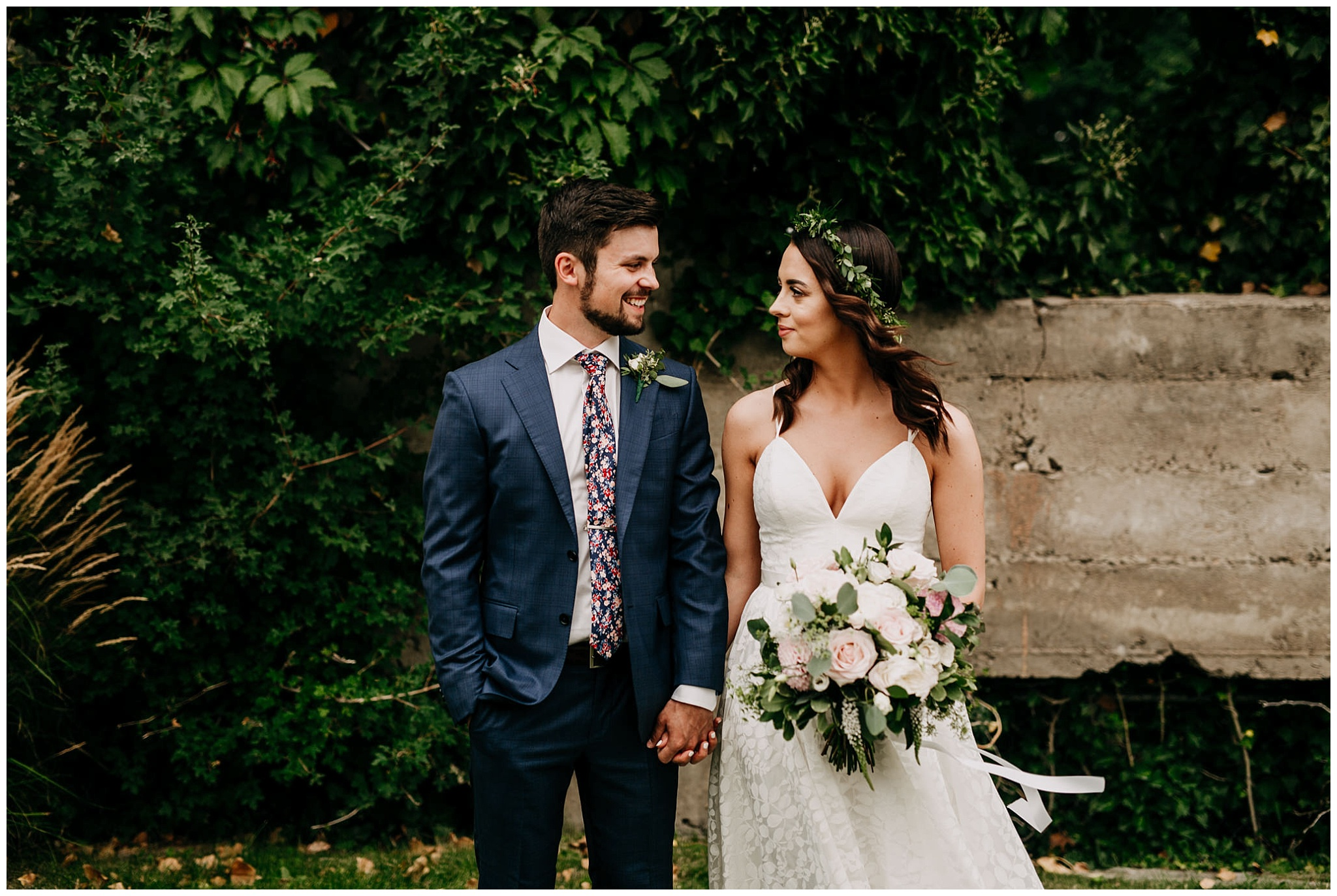 bride and groom portrait at linden gardens wedding