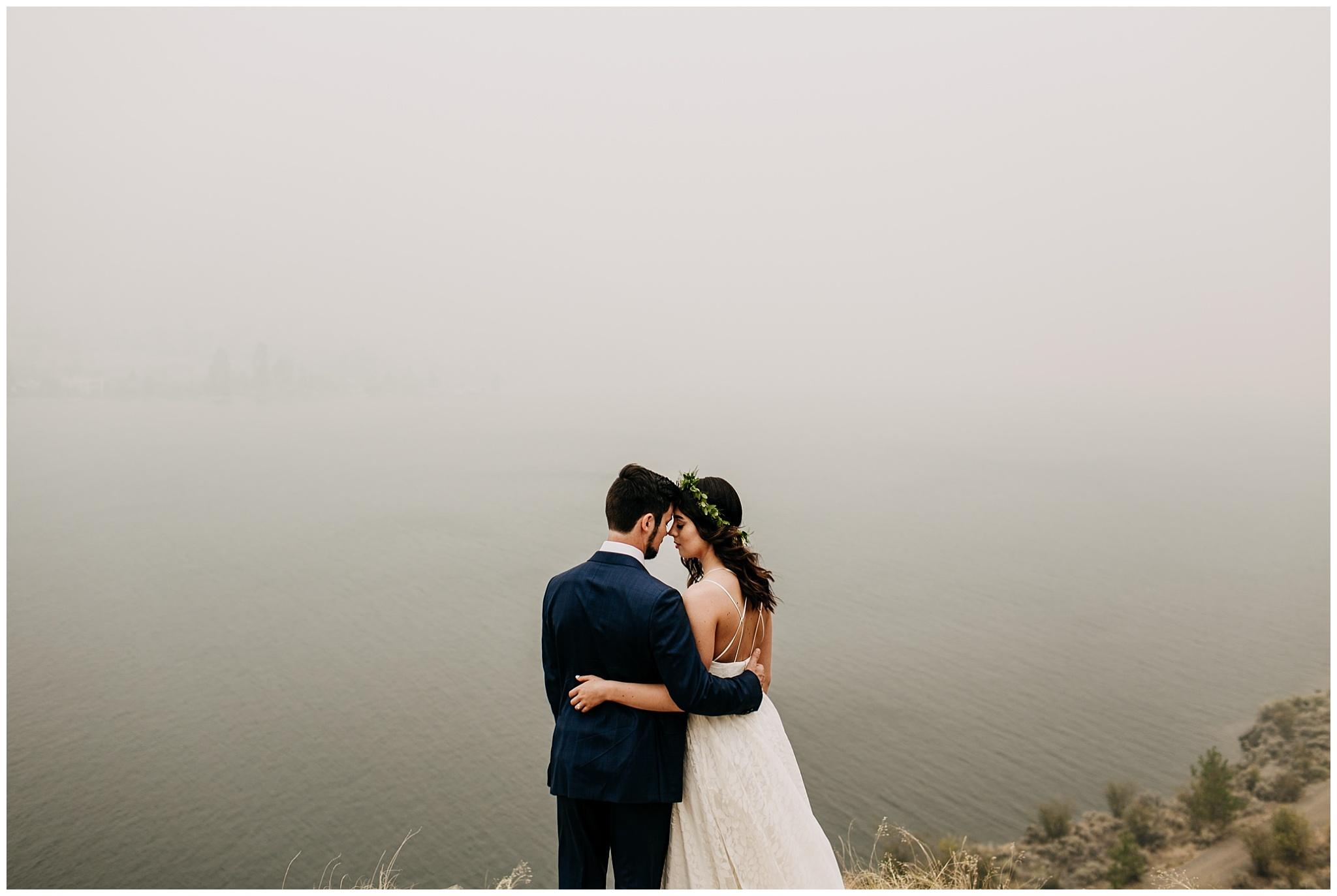 bride and groom intimate portrait at linden gardens wedding in kelowna