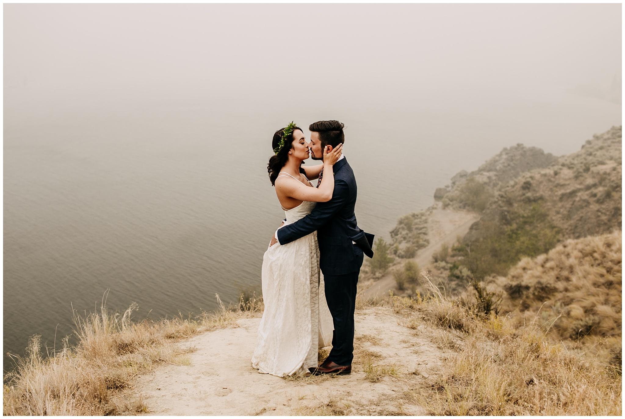 bride and groom kissing portrait at linden gardens wedding in kelowna
