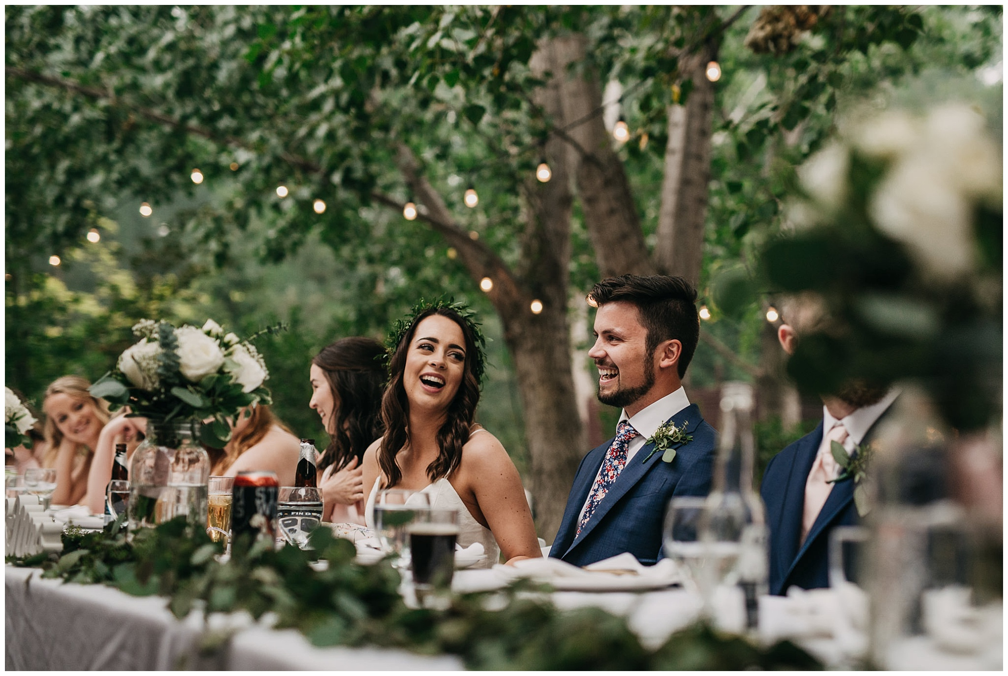 bride and groom candid moment at linden gardens wedding