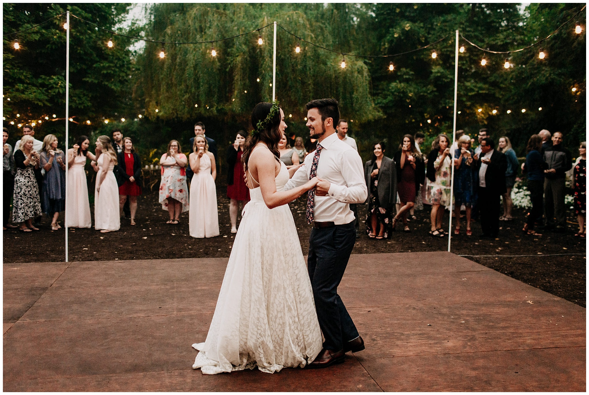 bride and groom first dance at linden gardens wedding
