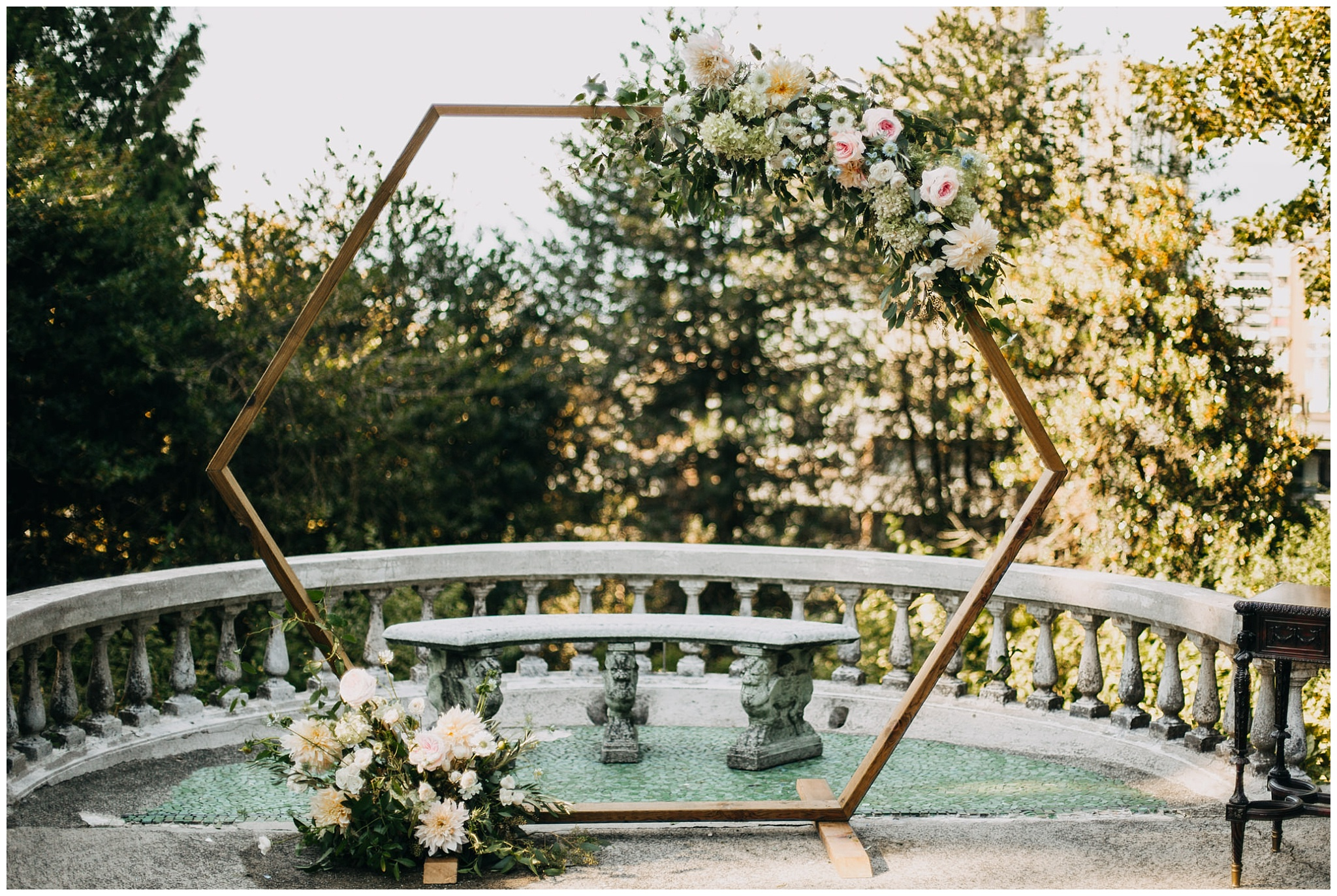 ceremony arch decor at hycroft manor wedding