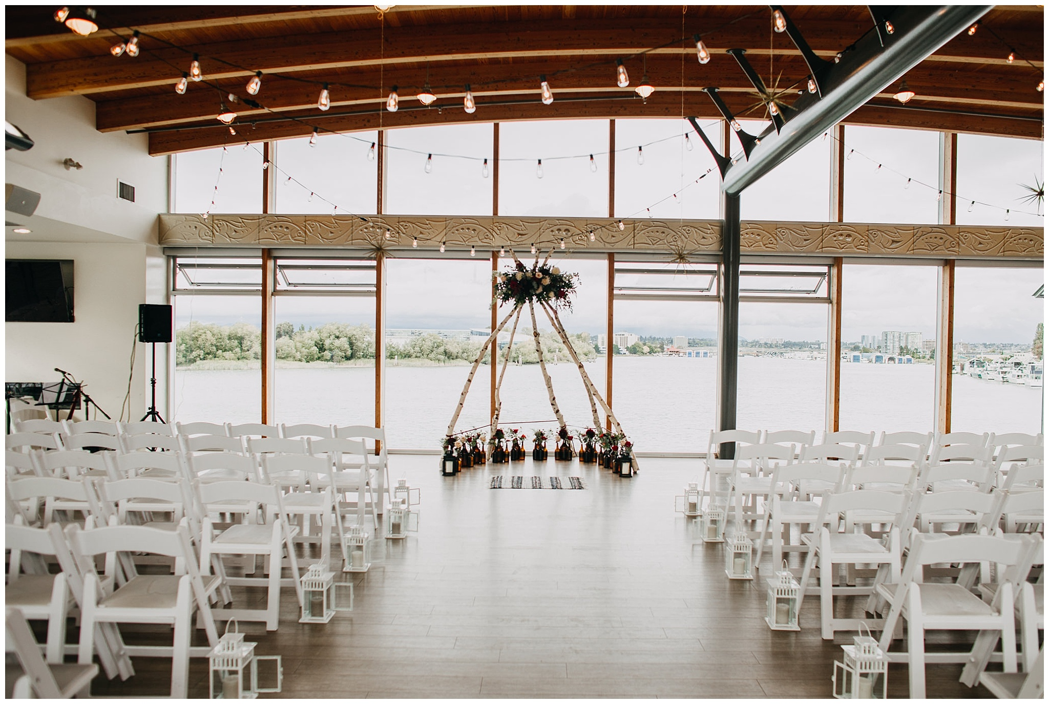 ubc boathouse wedding ceremony arch decor