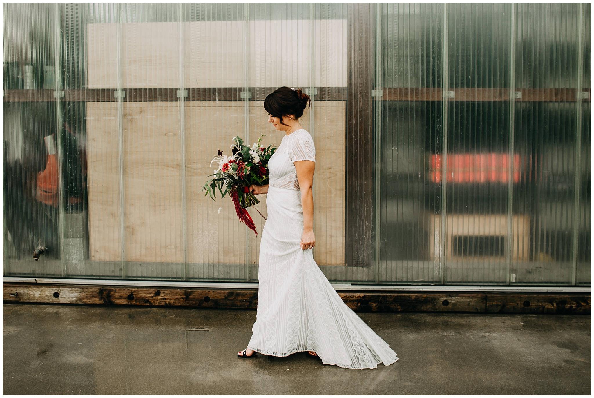 bride portrait at rainy ubc boathouse wedding