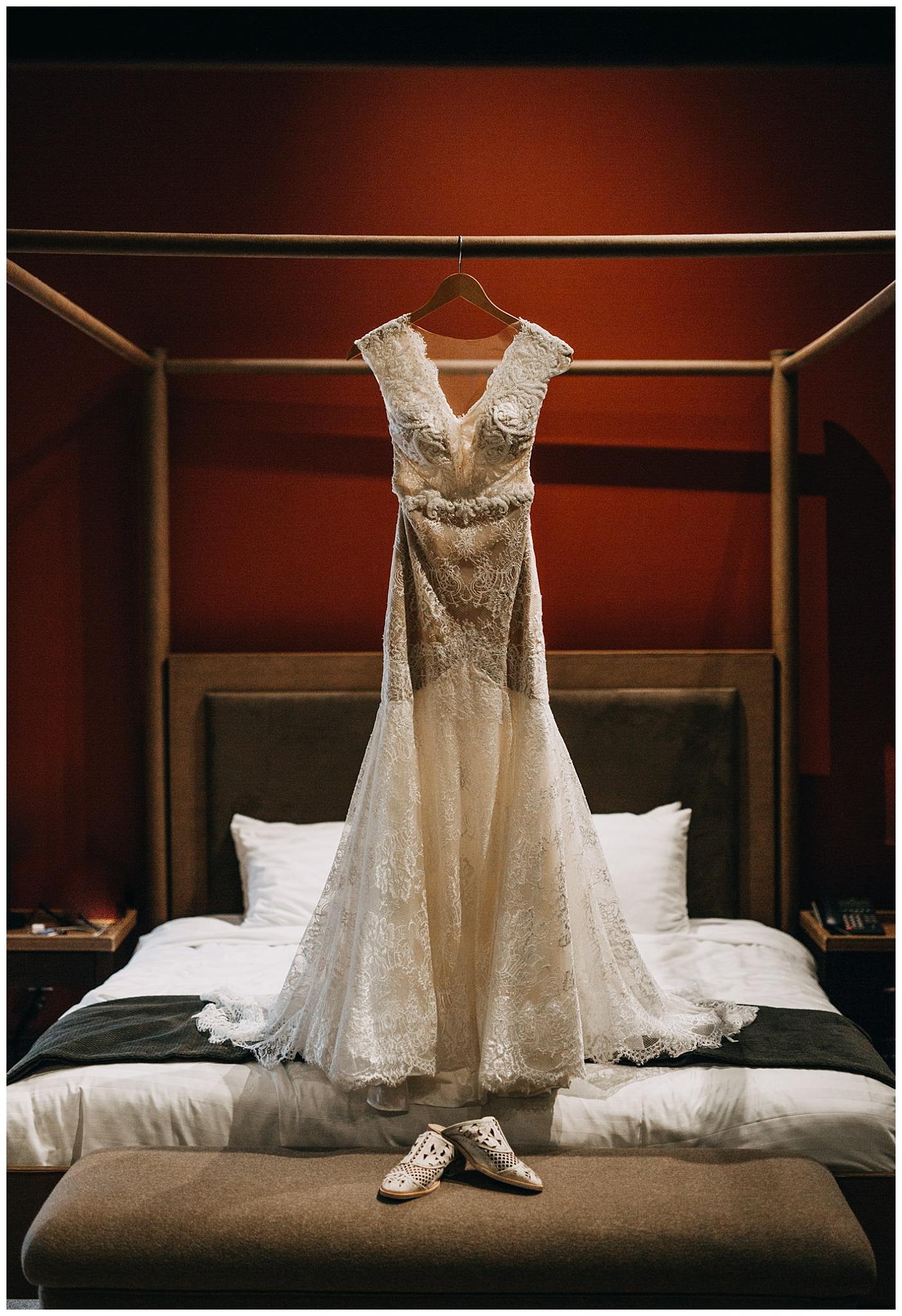 blush bridal wedding dress at nita lake lodge elopement