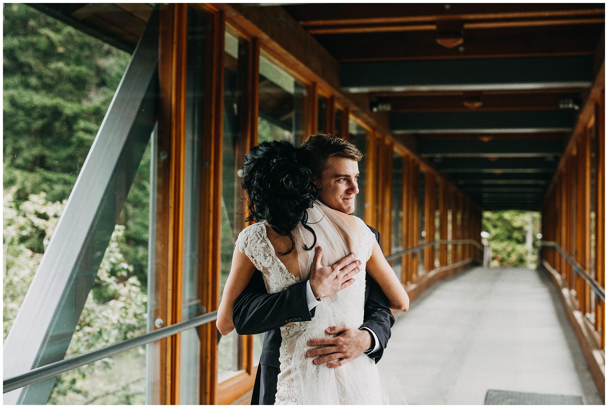bride and groom emotional first look at nita lake lodge wedding