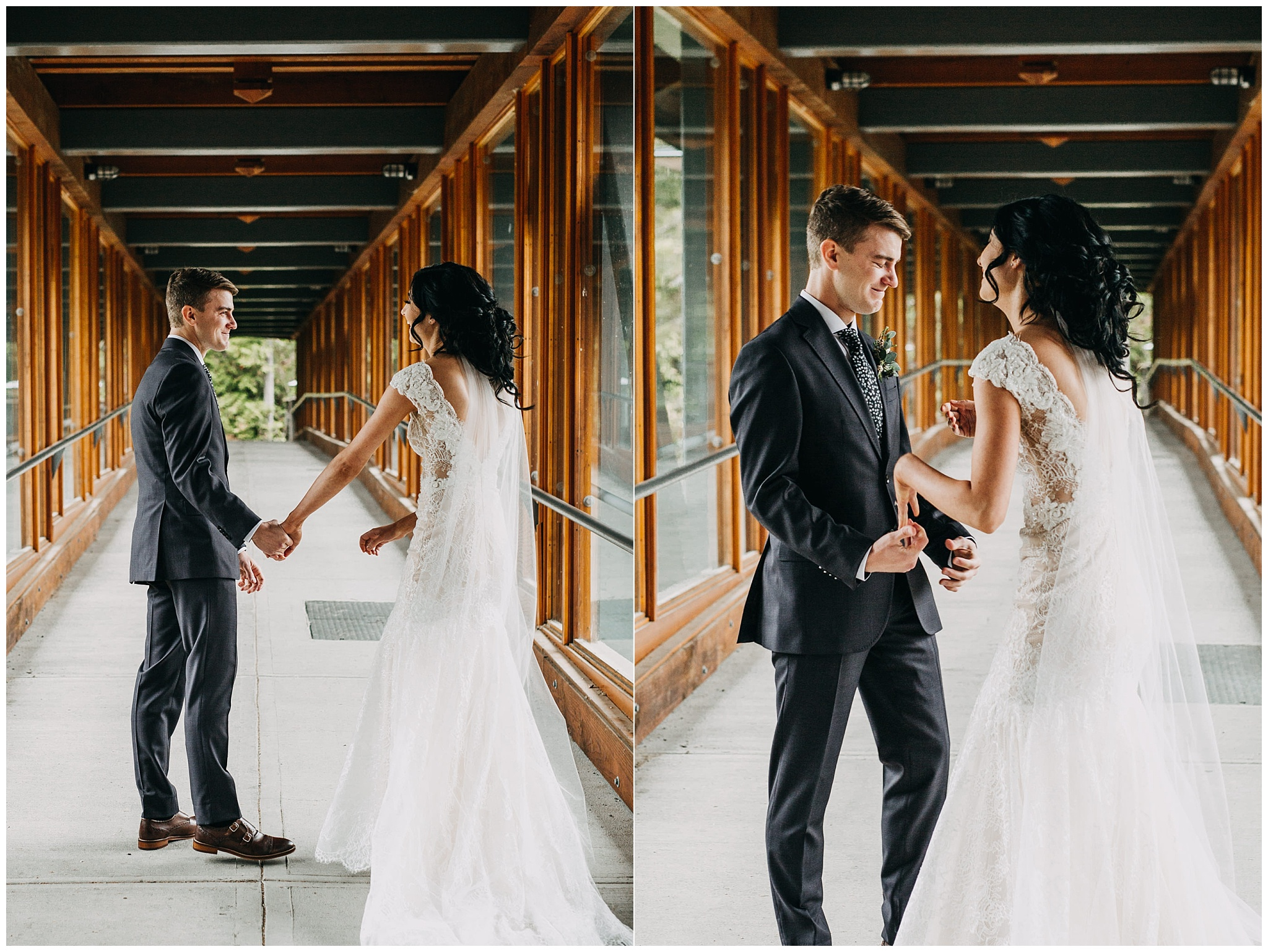 bride and groom first look at nita lake lodge elopement