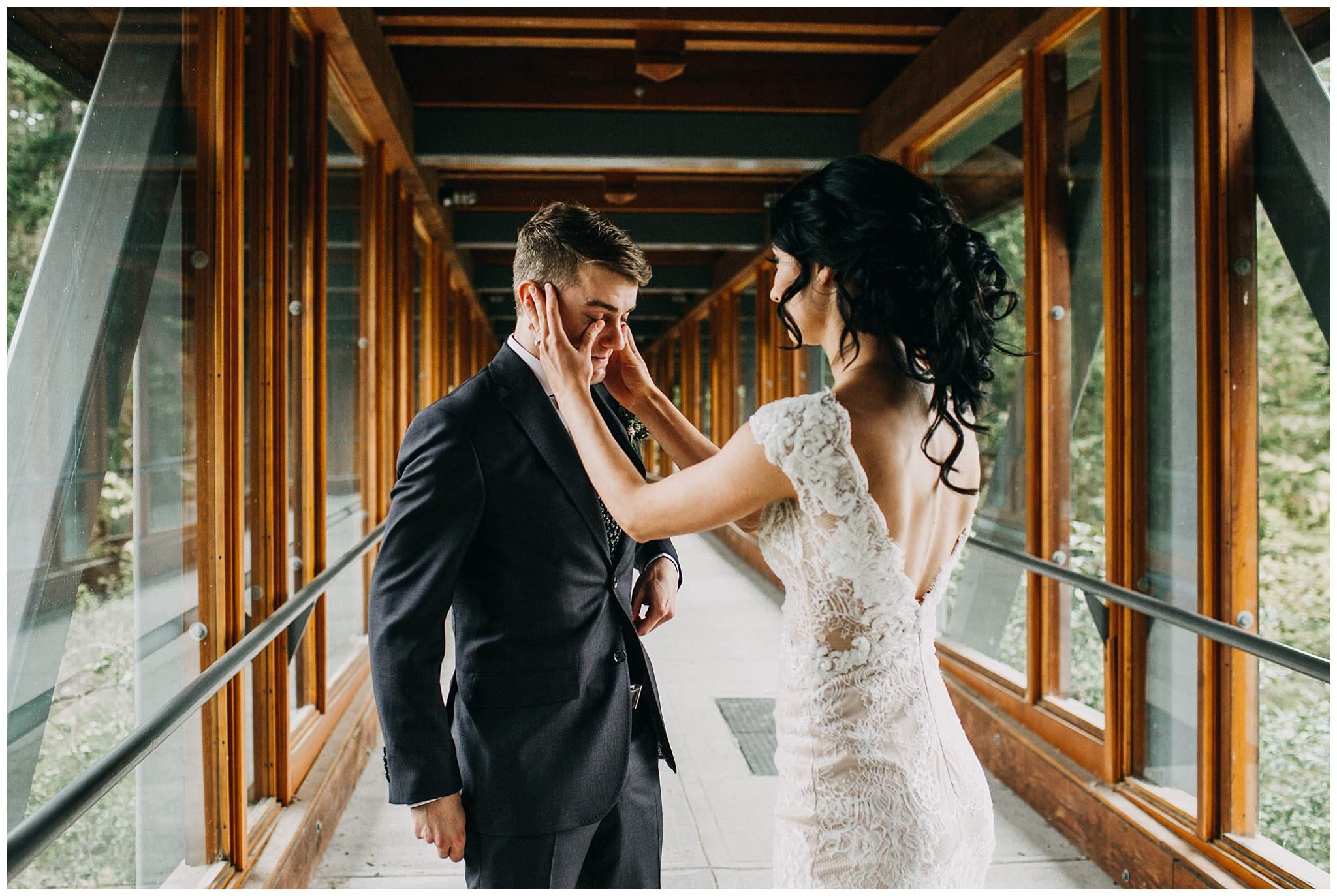 groom crying at emotional first look at nita lake lodge elopement