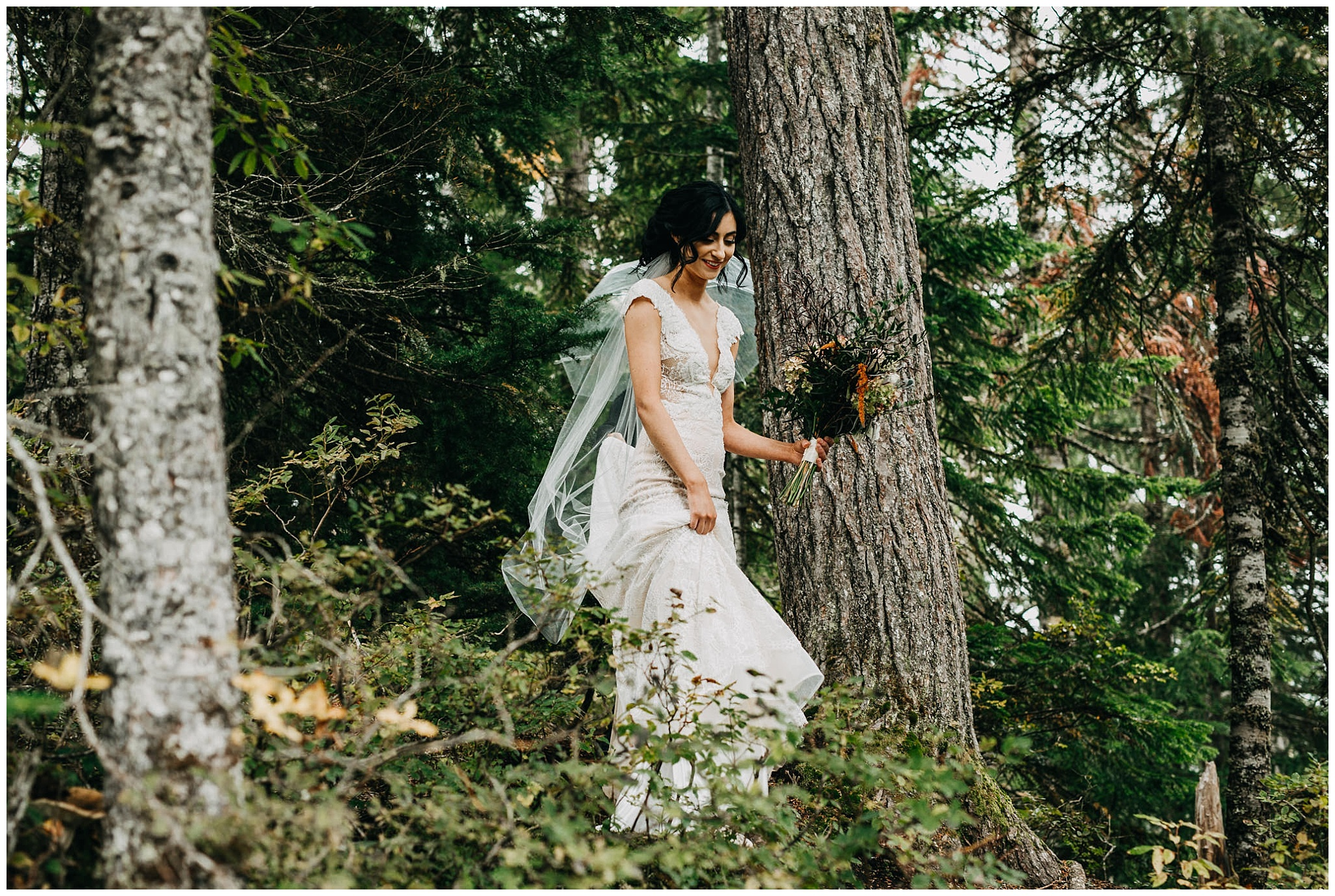 bride walking through forest to ceremony spot at whistler elopement