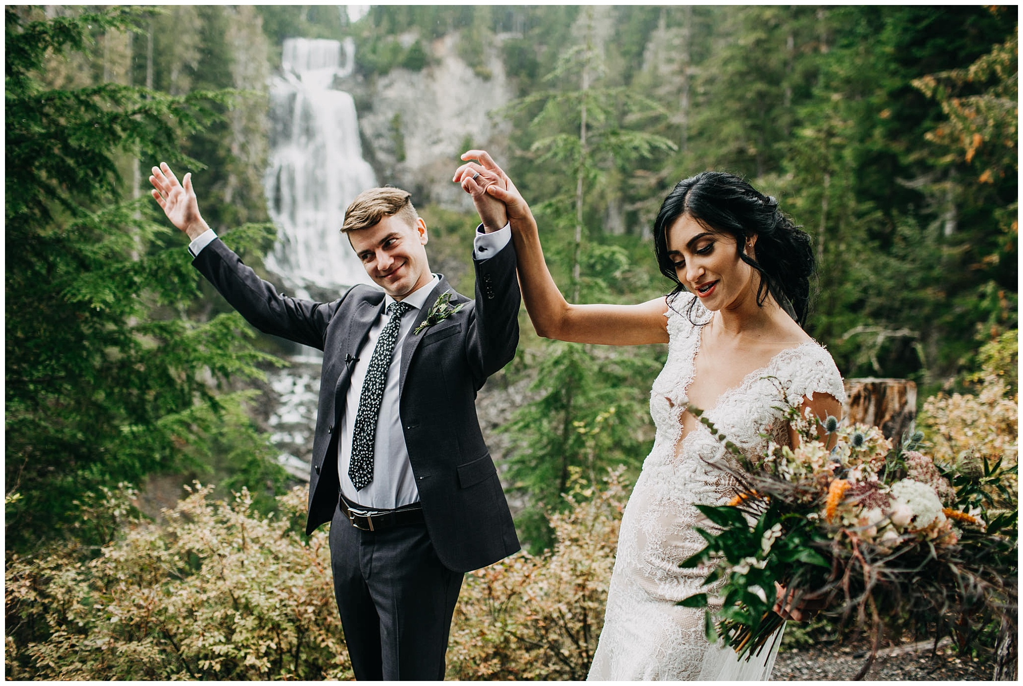 bride and groom ceremony exit at whistler elopement