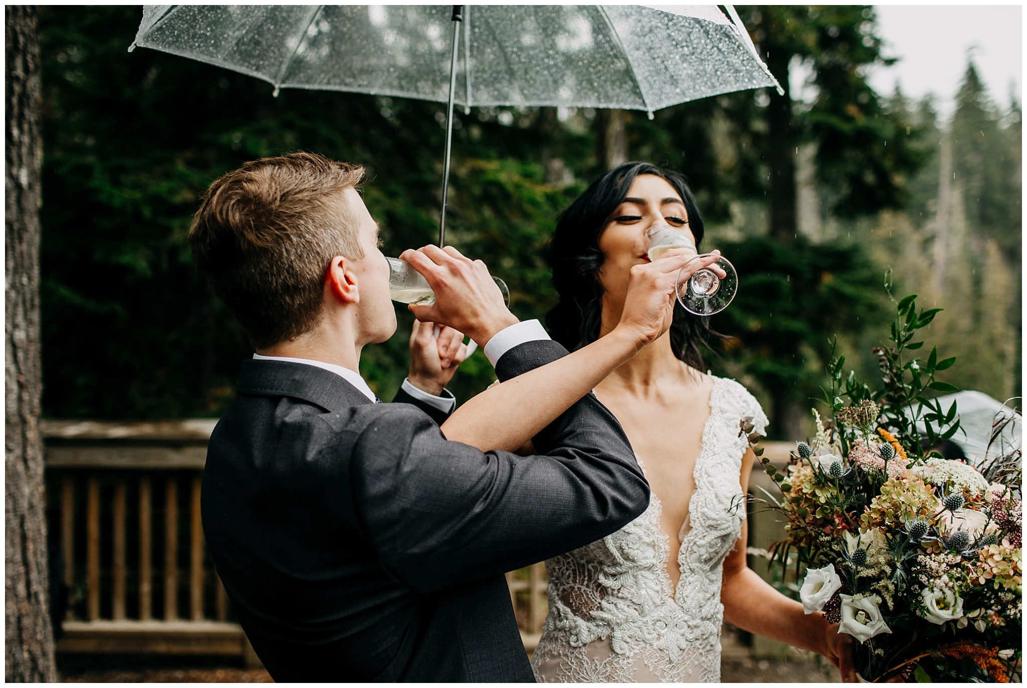 bride and groom champagne toast at whistler elopement