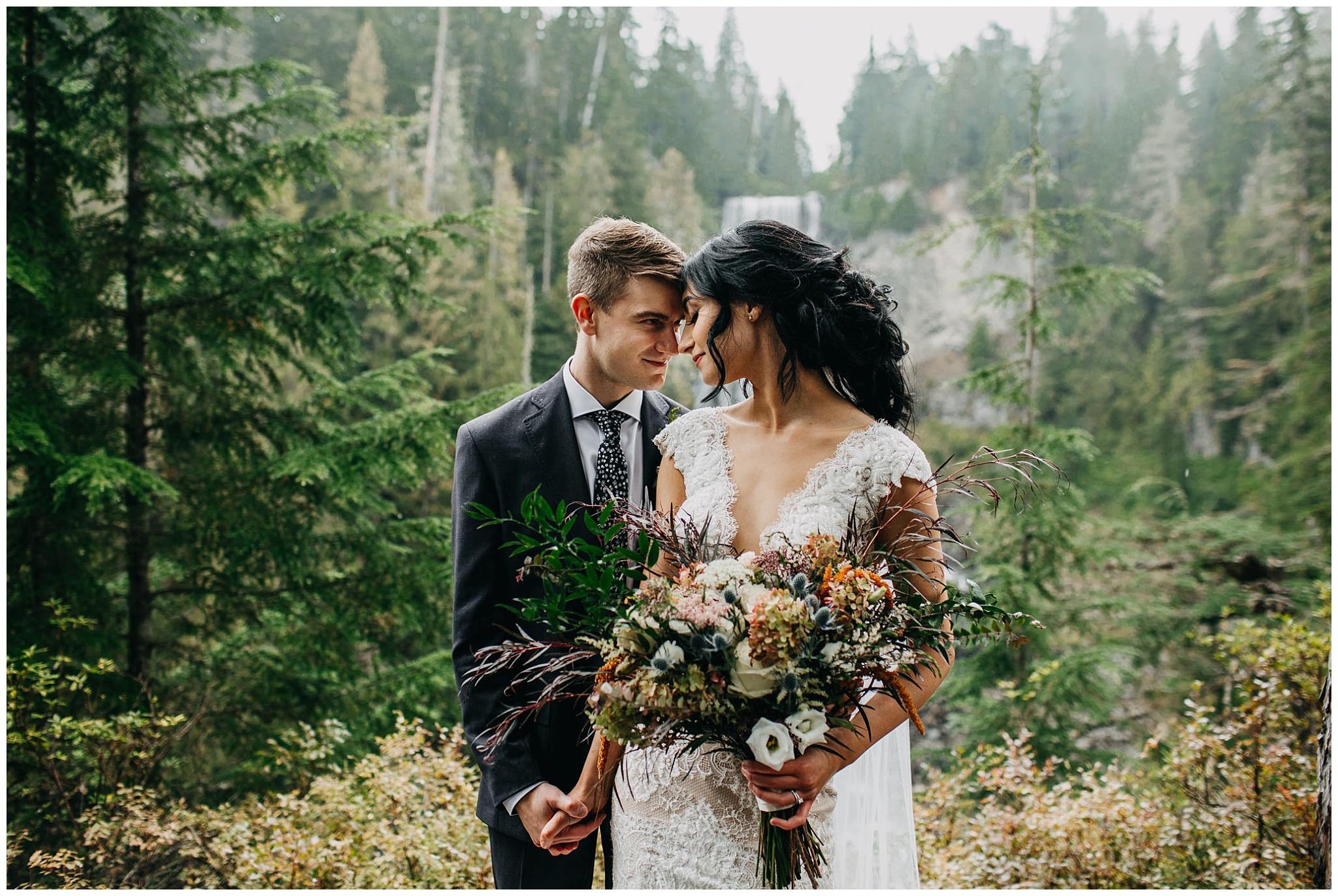 bride and groom portrait at alexander falls whistler elopement