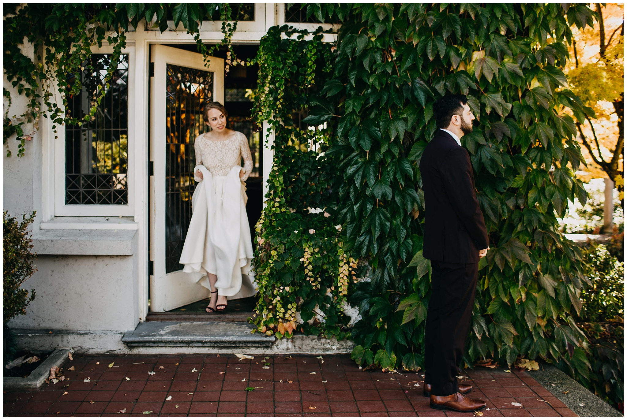 bride approaching groom at first look hycroft manor wedding