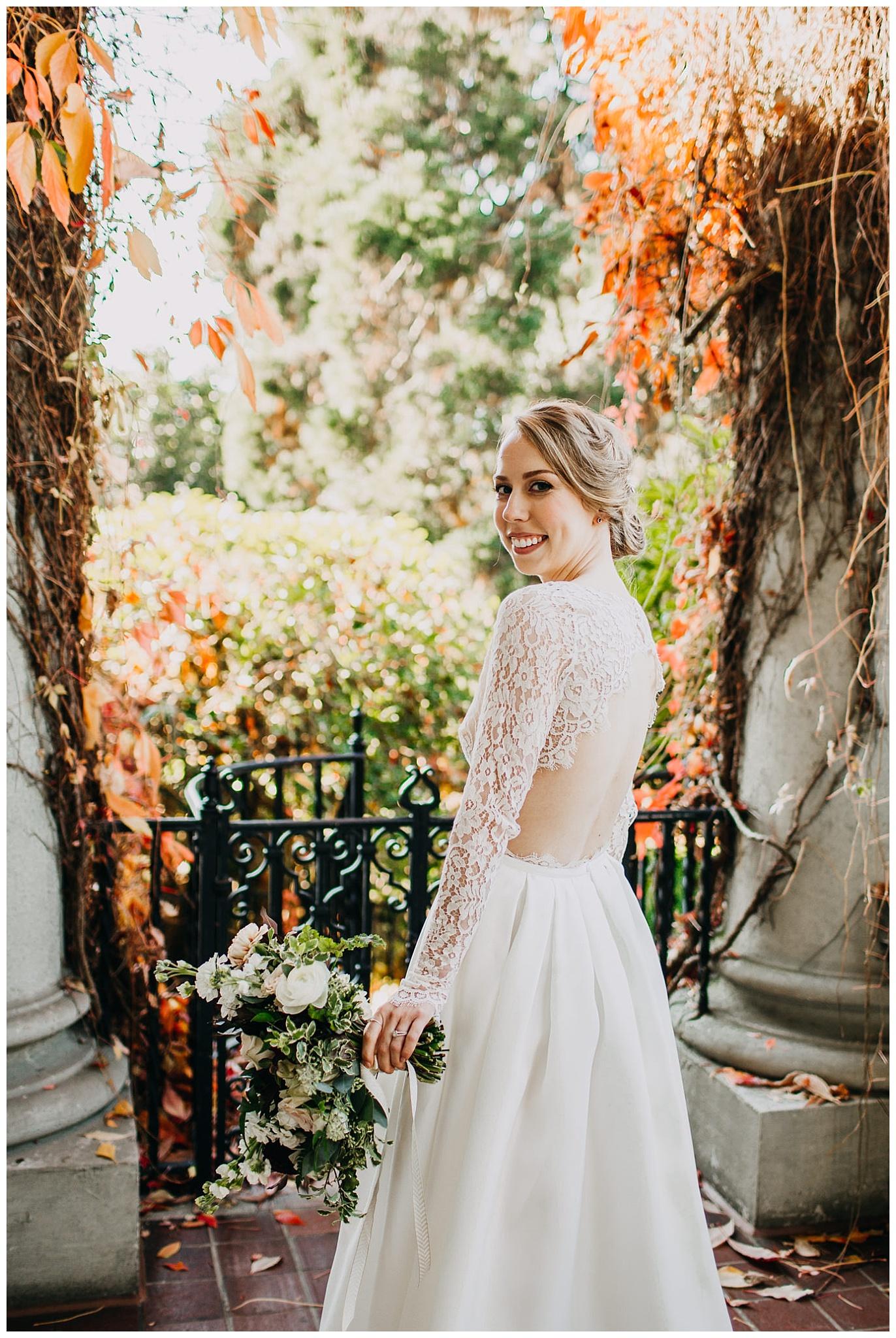 bride portrait during autumn hycroft manor wedding