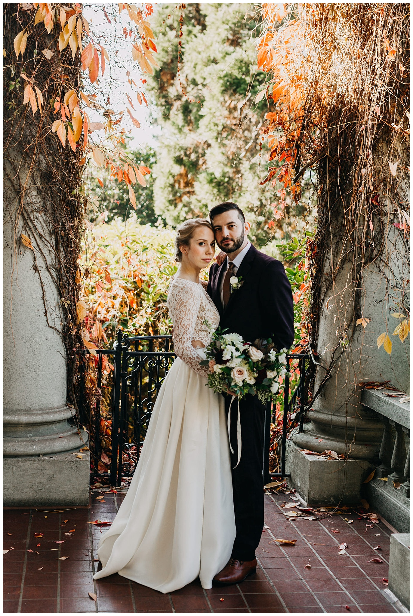 autumn bride and groom portrait at hycroft manor wedding