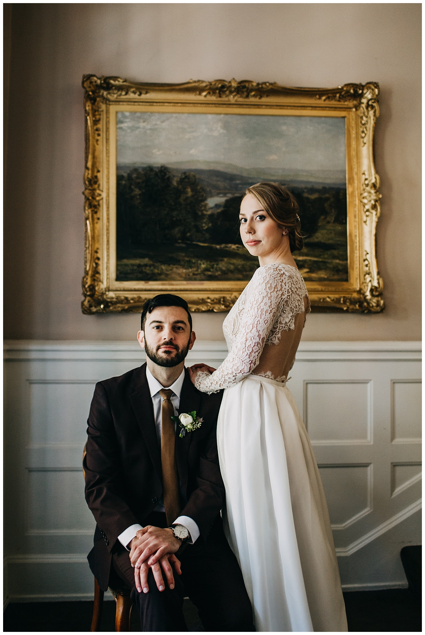 editorial bride and groom portrait inside hycroft manor wedding