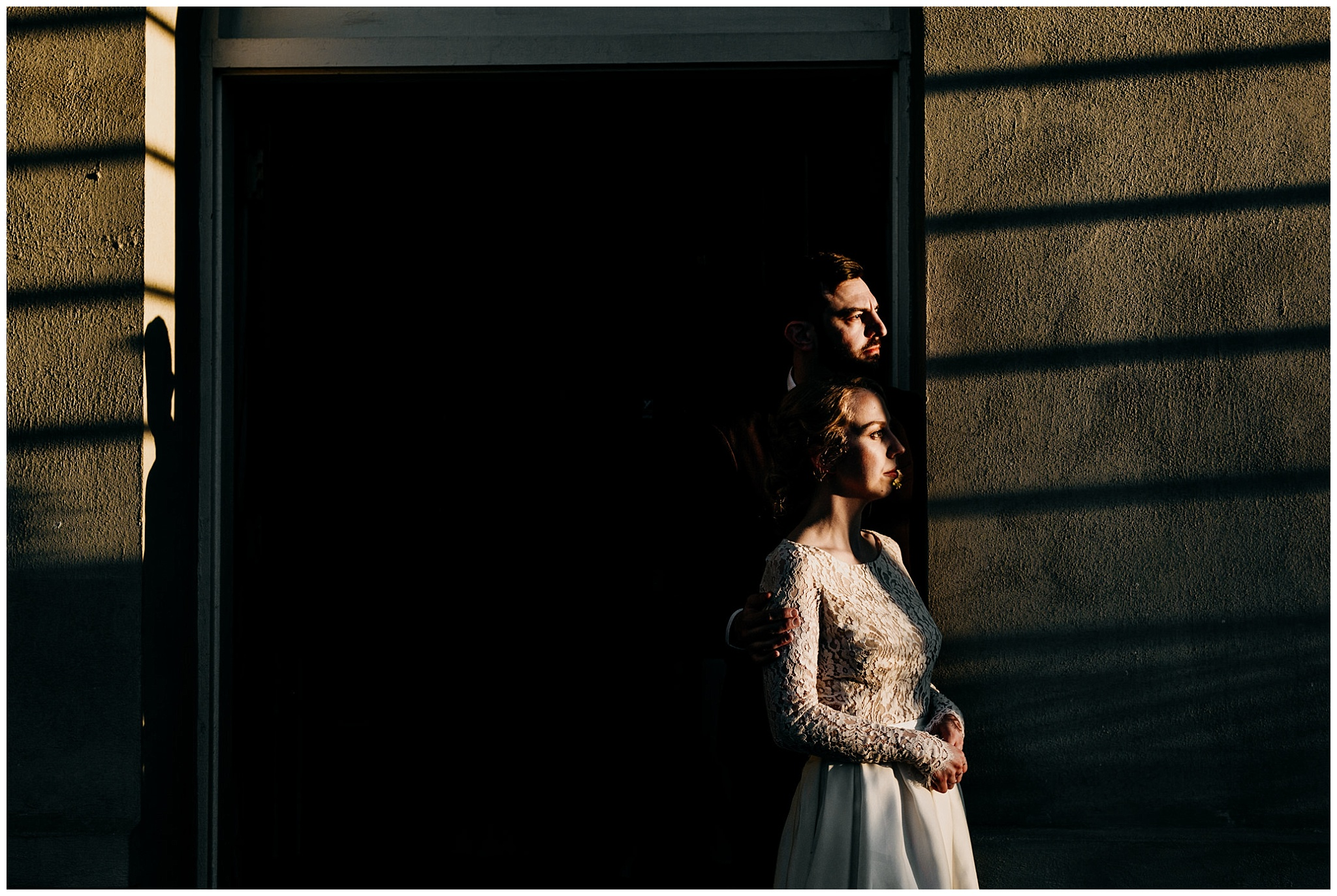 shadow and light bride and groom portrait at hycroft manor