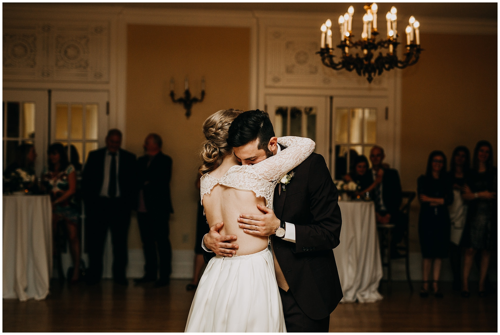 bride and groom emotional first dance at hycroft manor wedding