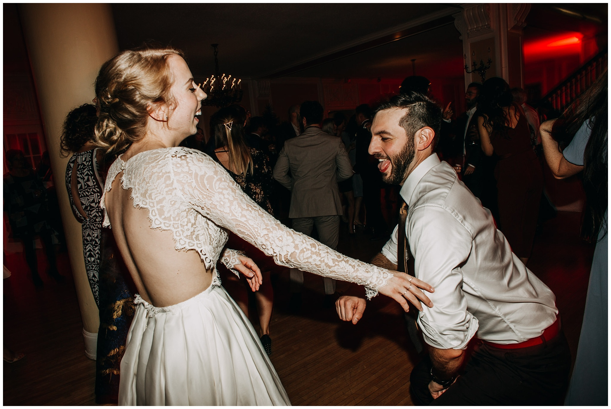 bride and groom dance party at Hycroft Manor wedding