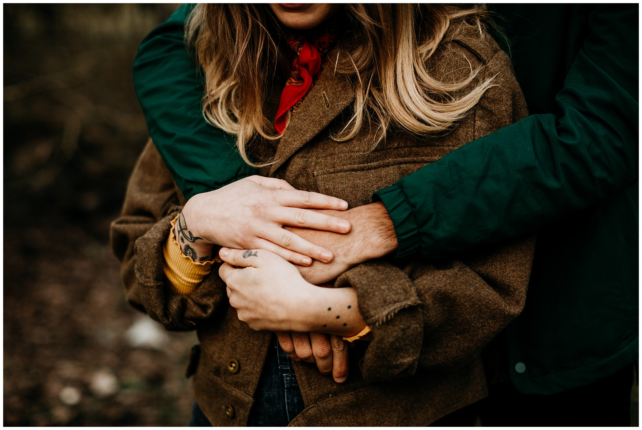 moody couples hands portrait at jericho beach