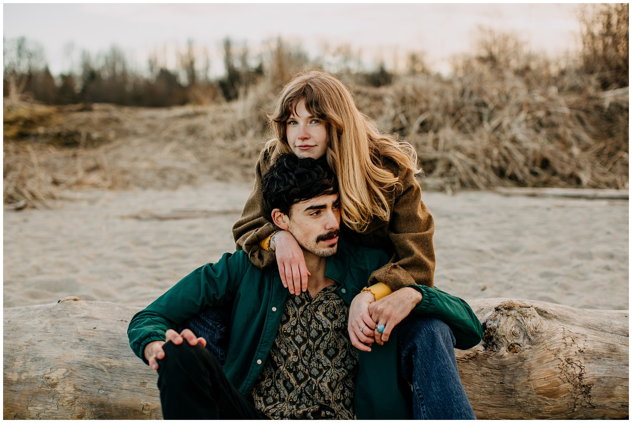 70s inspired couple on jericho beach at engagement session