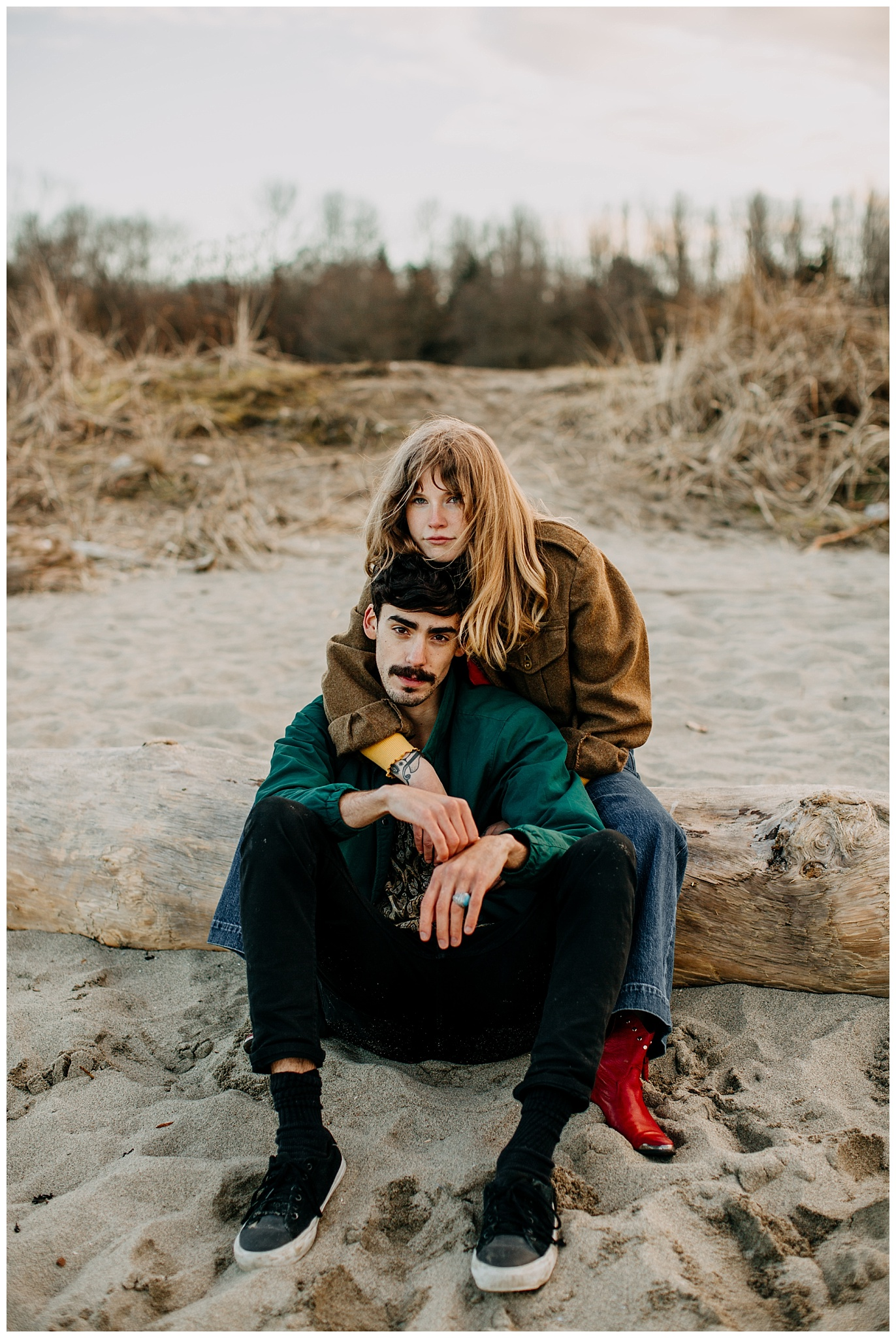 editorial 70s inspired engagement session at jericho beach vancouver