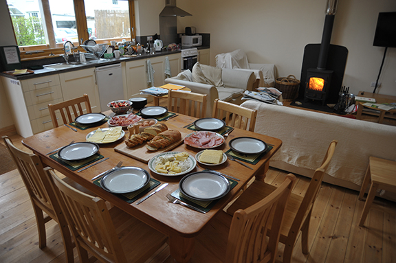 Brunch nearly ready, bacon cooking, coffee brewing, fire lit!