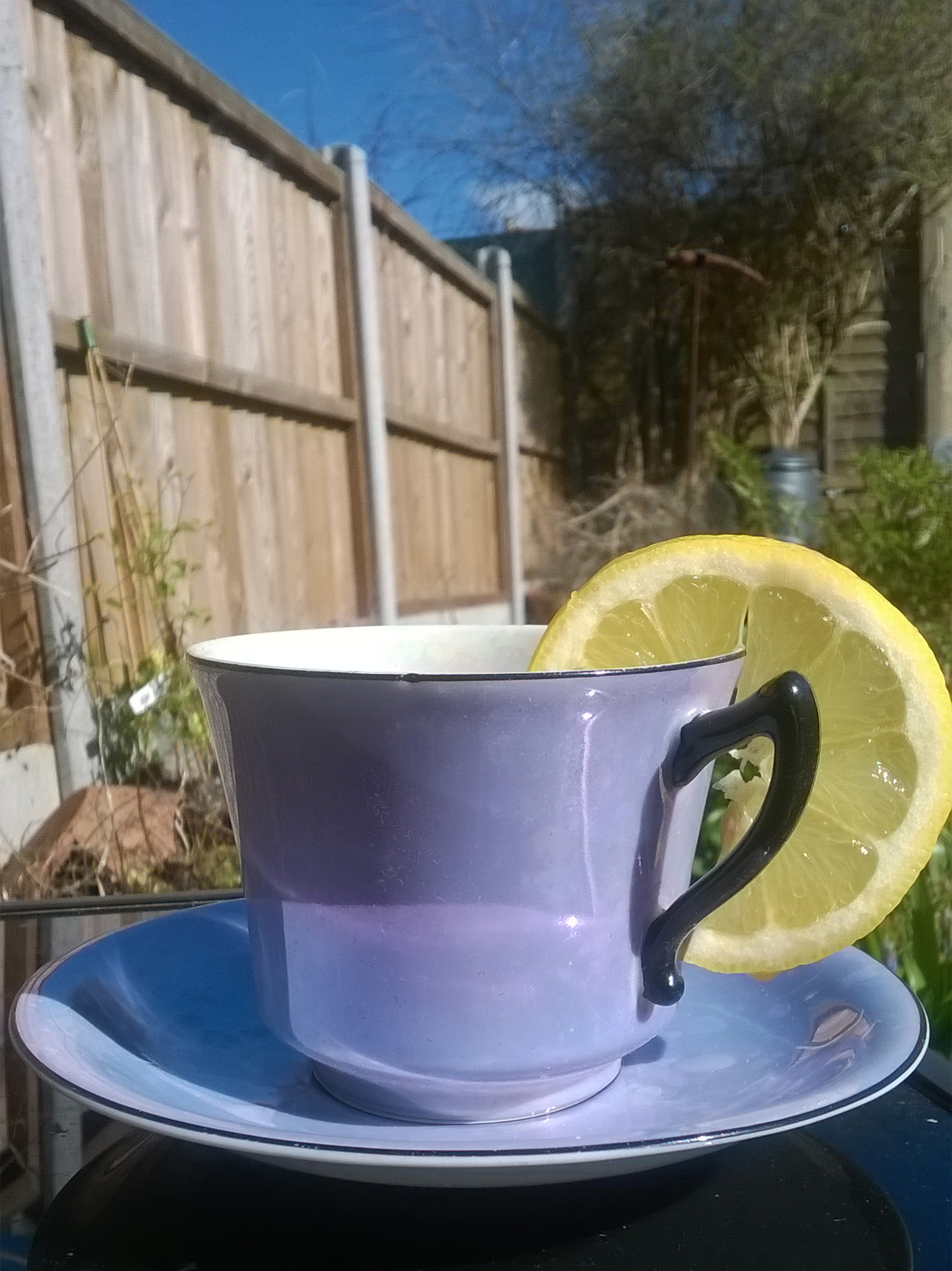 My beautiful vintage china, and hot lemon water in glorious spring sunshine, Bristol!