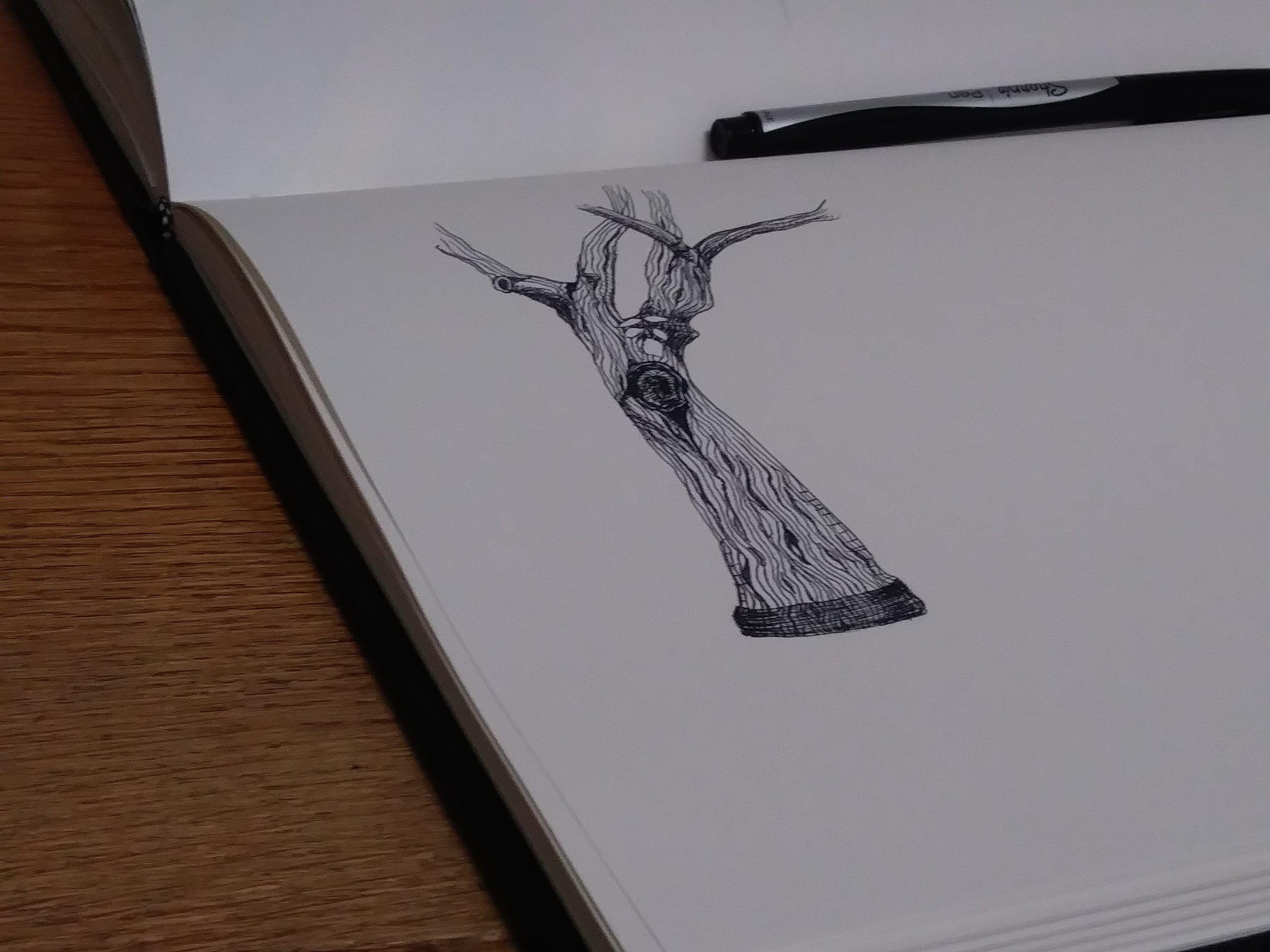 In progress. Felt-tip pen.