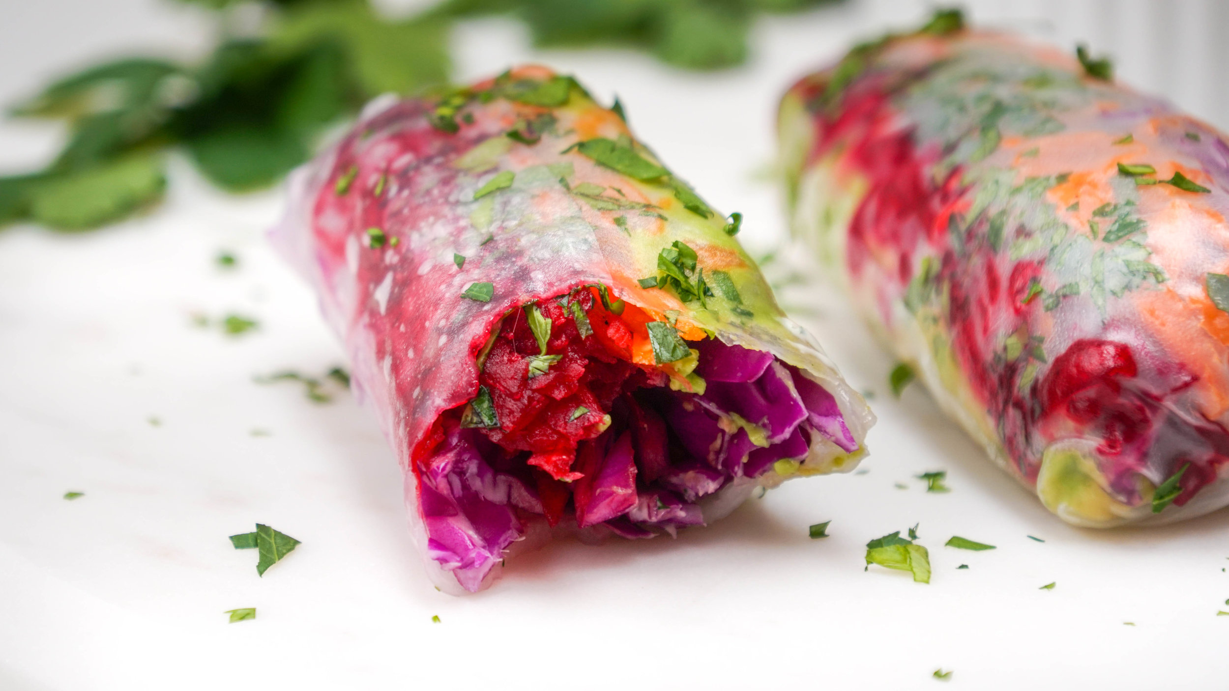 Raw Grated vegetable roll with dairy- free dipping saue
