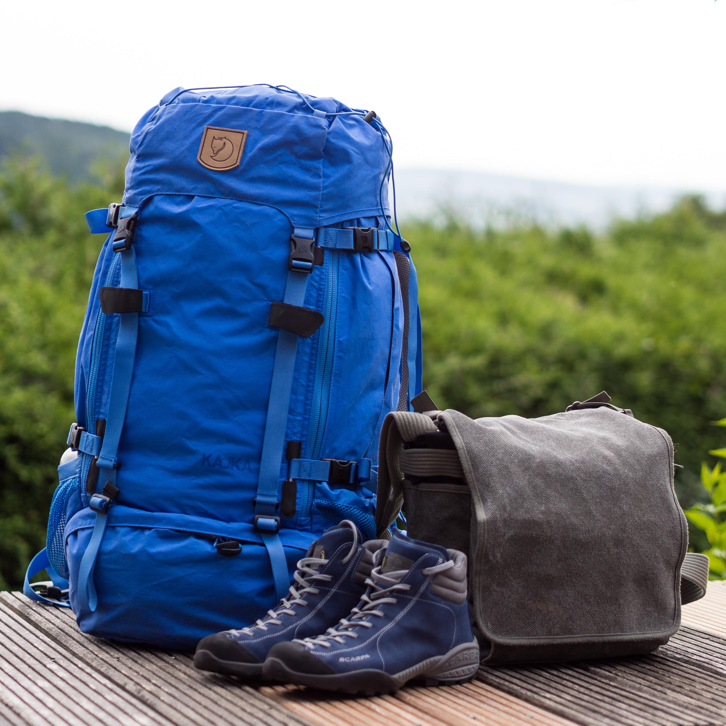 My Fjallraven Kajka 65L backpack and the Think-Tank Retrospective 20 camera bag.