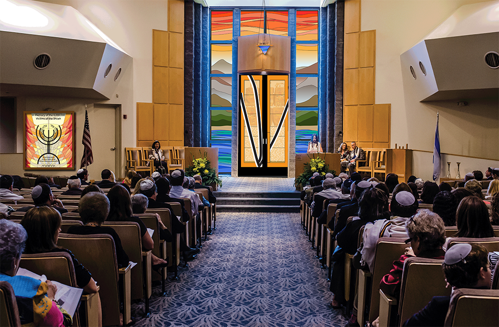 Here is the image of the sanctuary with the Holocaust Memorial window, in its light box, placed next to the American flag.