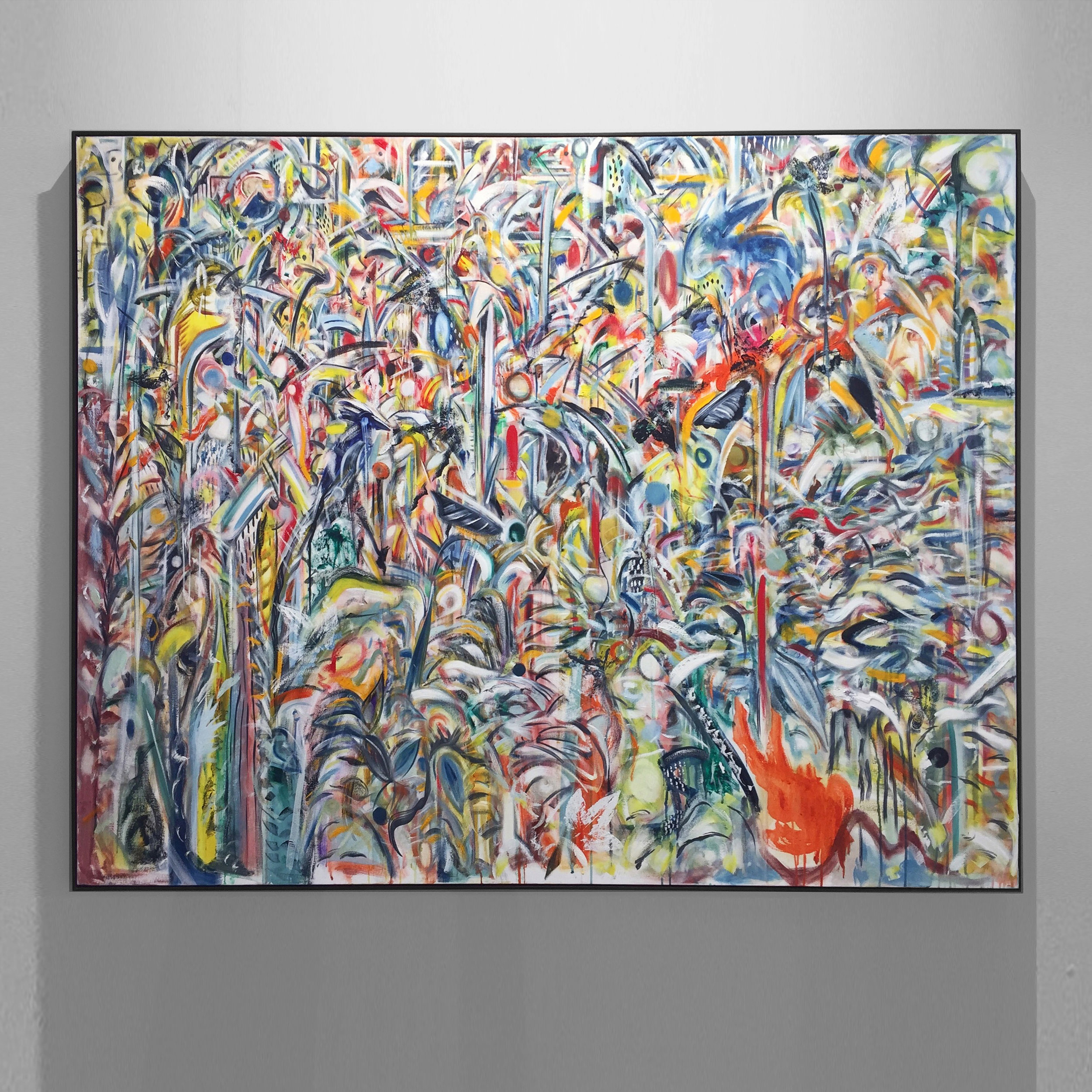 he paint, war paint 2018 oil, oil stick on canvas, with ivy overprint, tulip wood moulding, dark oak finish, 130x160x4.5cm