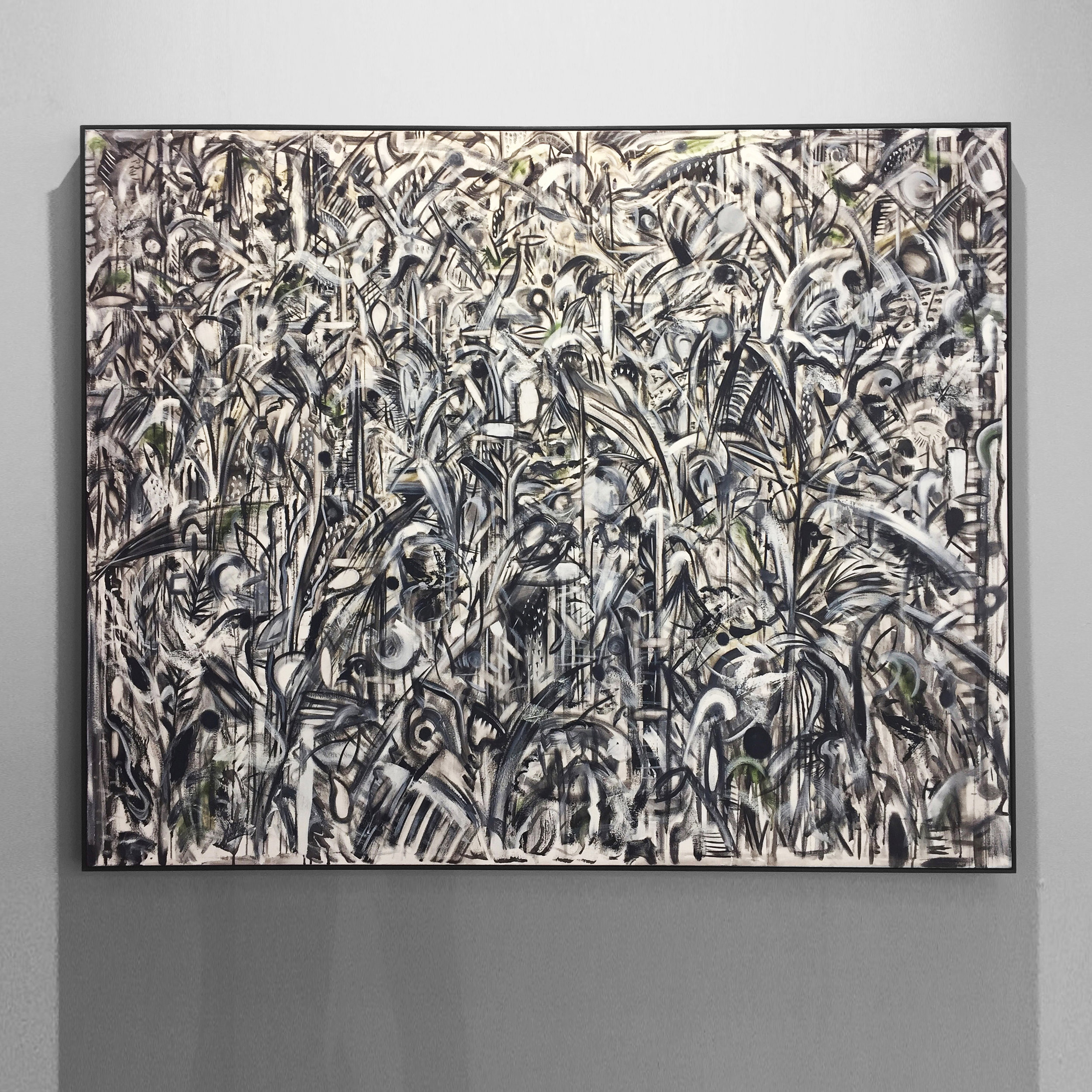 traverse, traverse, the forest verse 2018 oil, oil stick on canvas, with ivy overprint, tulip wood moulding, dark oak finish, 130x160x4.5cm