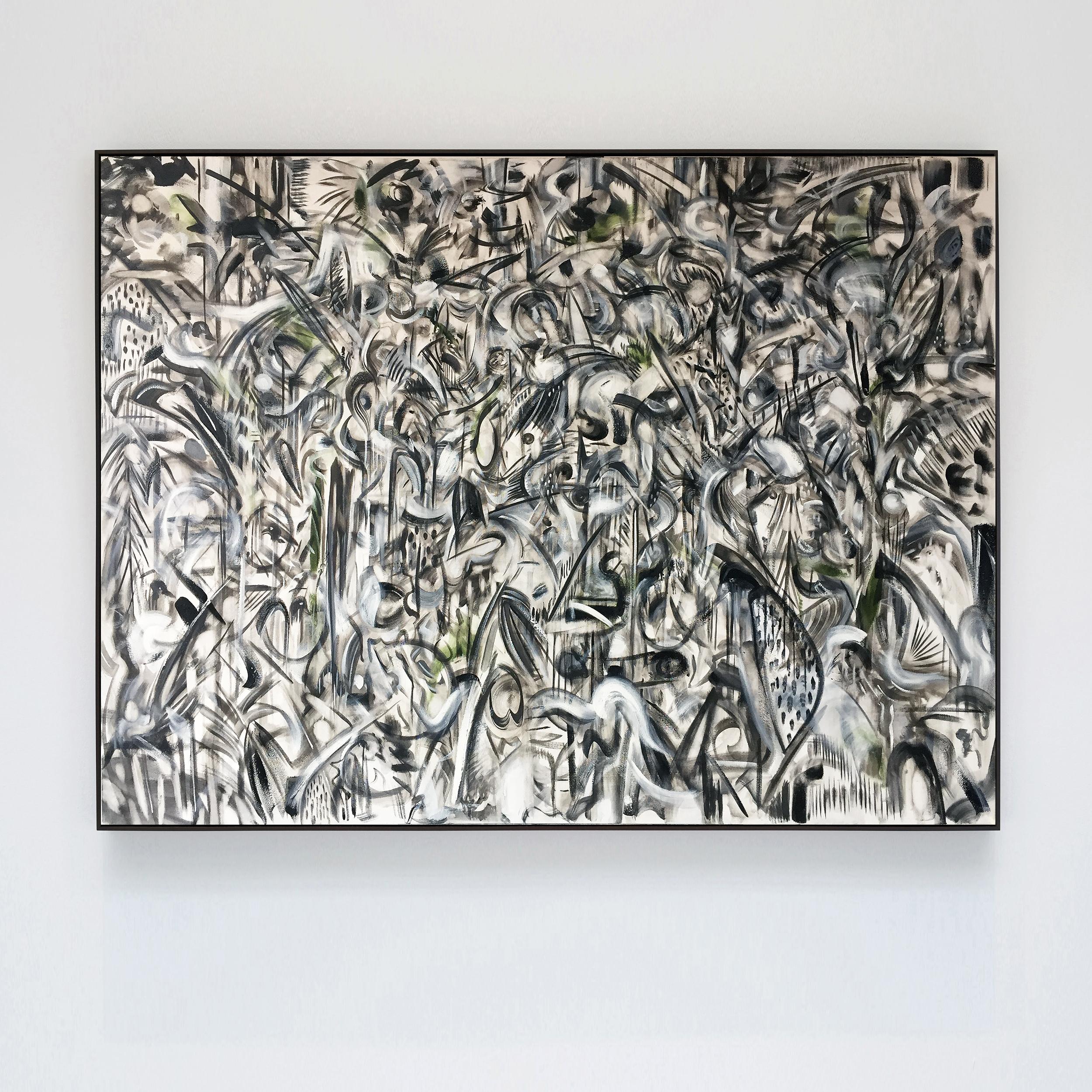 his key monochrome 2018 oil, oil stick on canvas, with ivy overprint, tulip wood moulding, dark oak finish, 94x124x4cm