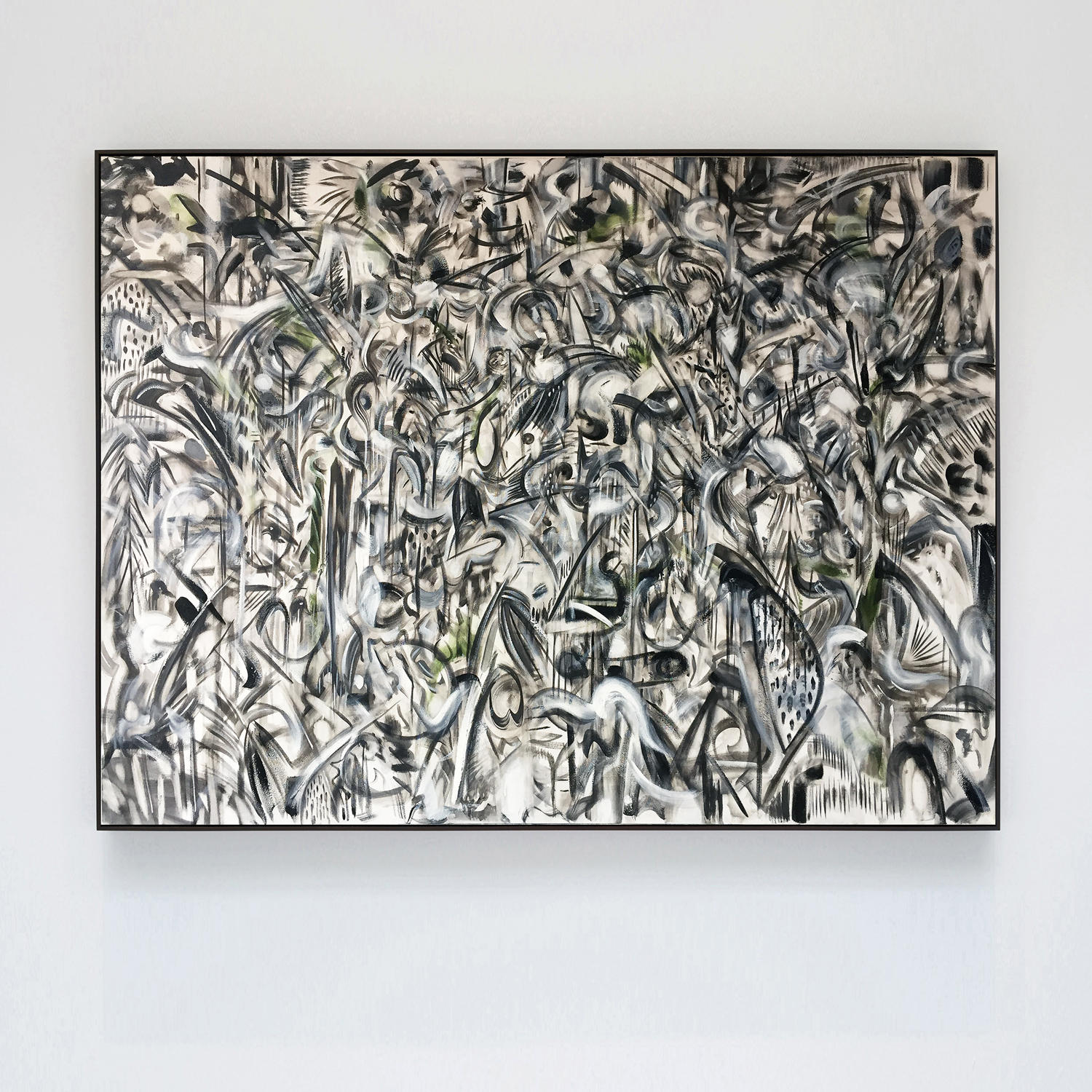 his key monochrome, 2018, oil, oil stick on canvas, ivy, tulip wood moulding, dark oak finish, 90 x 120 x 4cm