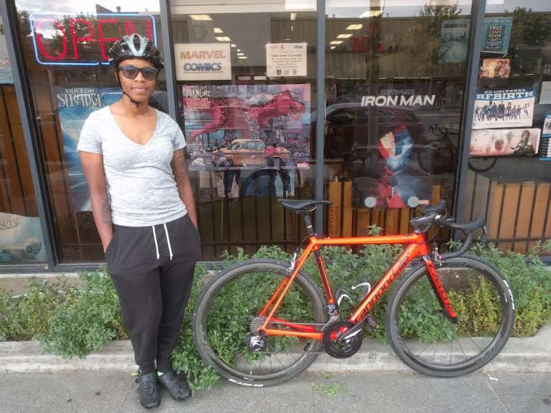 """Me w/ my newly decked out and renamed bike """"Bad and Boujee"""""""