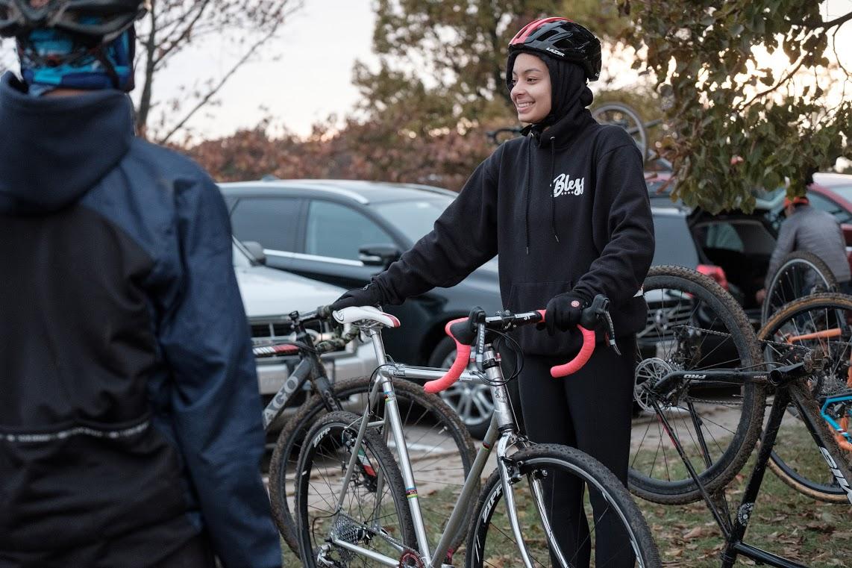 Maxine with her bike-- Alan