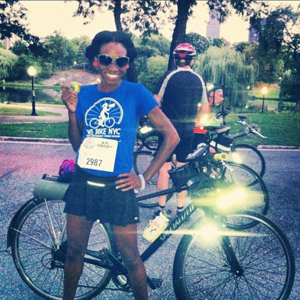 Laura doing 100 miles with an apple and a skort cuz nobody told her about bike shorts….