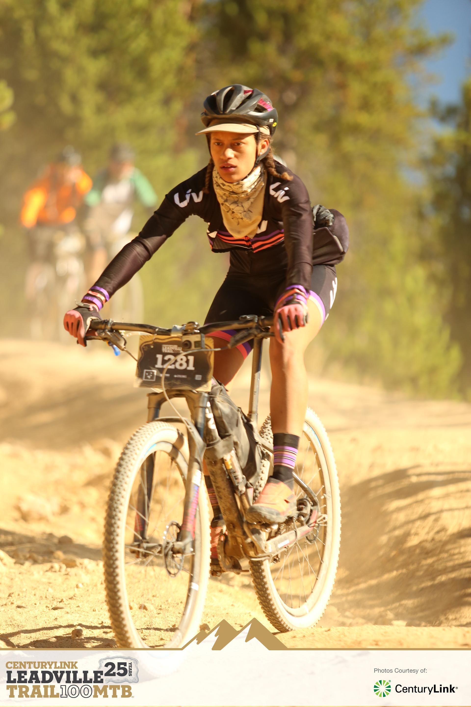 Sam taking on Leadville on her Single speed Liv Mountain Bike.