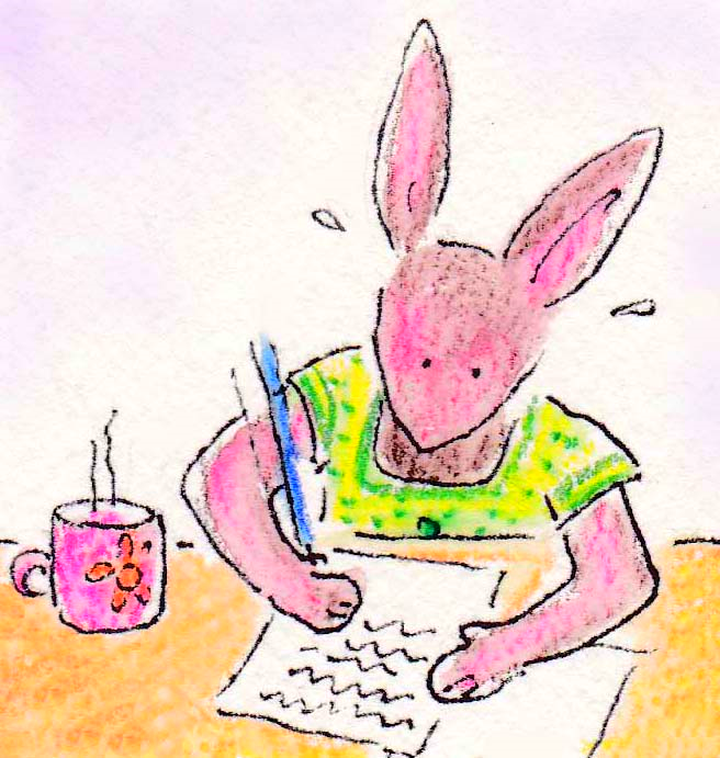 This is me Sweet Pea writing all the books that you will read. See how hard I am working? I hope you like my stories...
