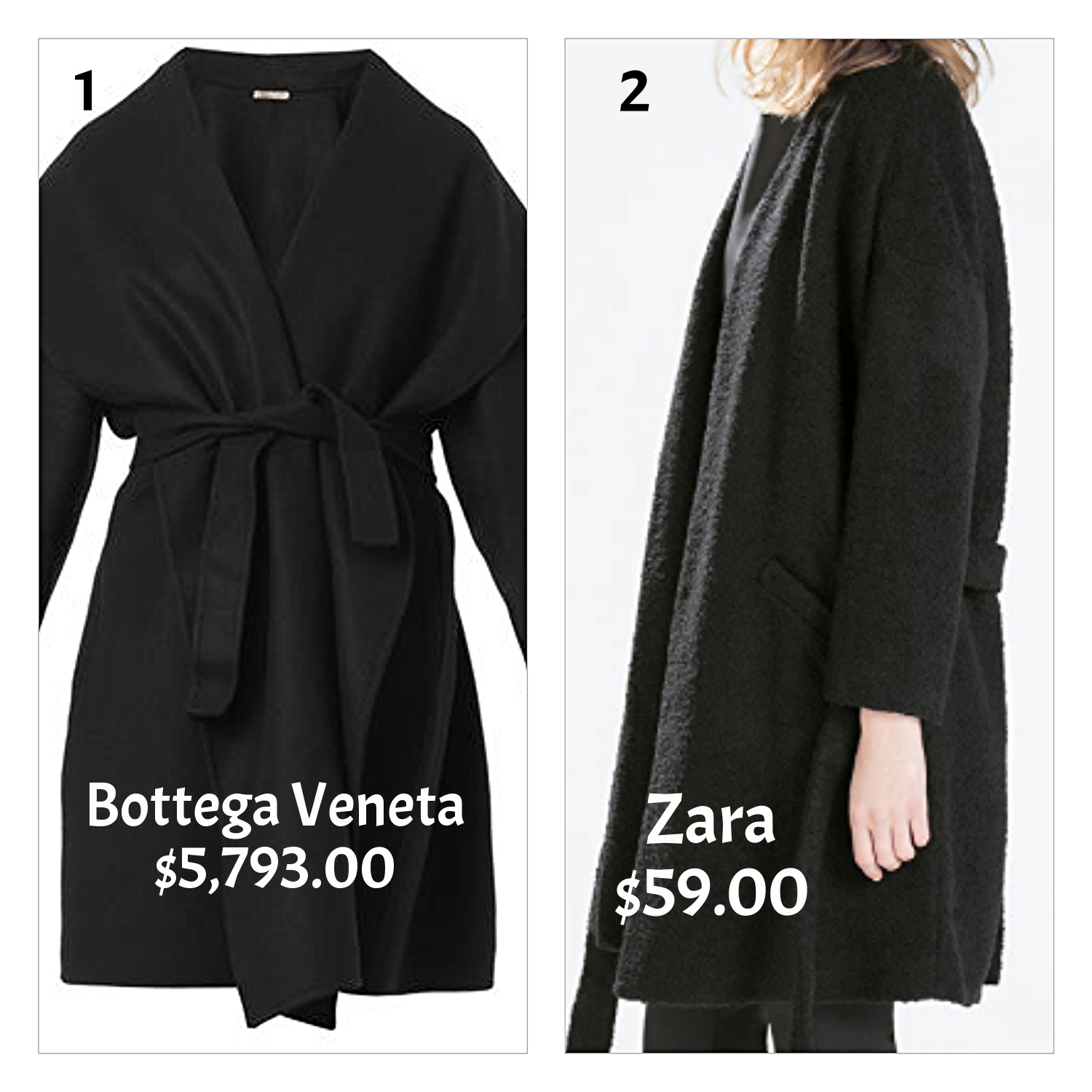 black wrap coats- expensive and cheap