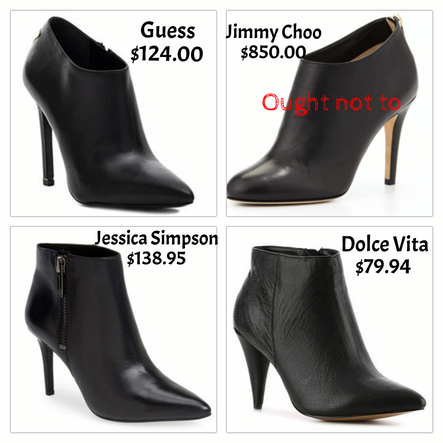 black heeled booties - cheap and expensive