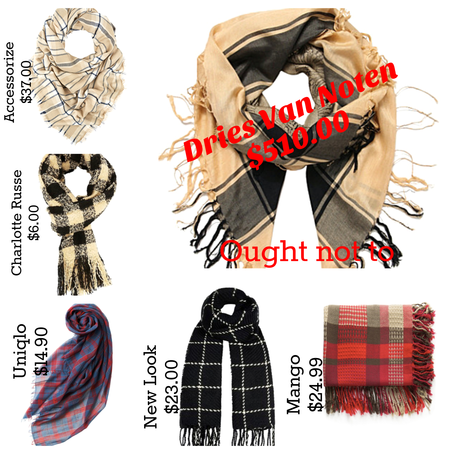 Ought not to, ought to: plaid winter scarves- expensive and affordable