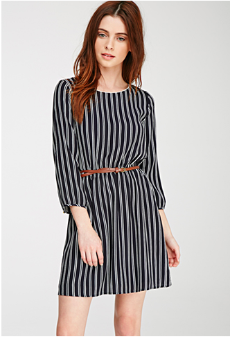 striped long-sleeved dress for petite sizes