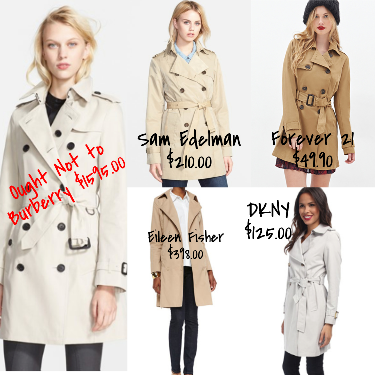 cheap and expensive trench coats