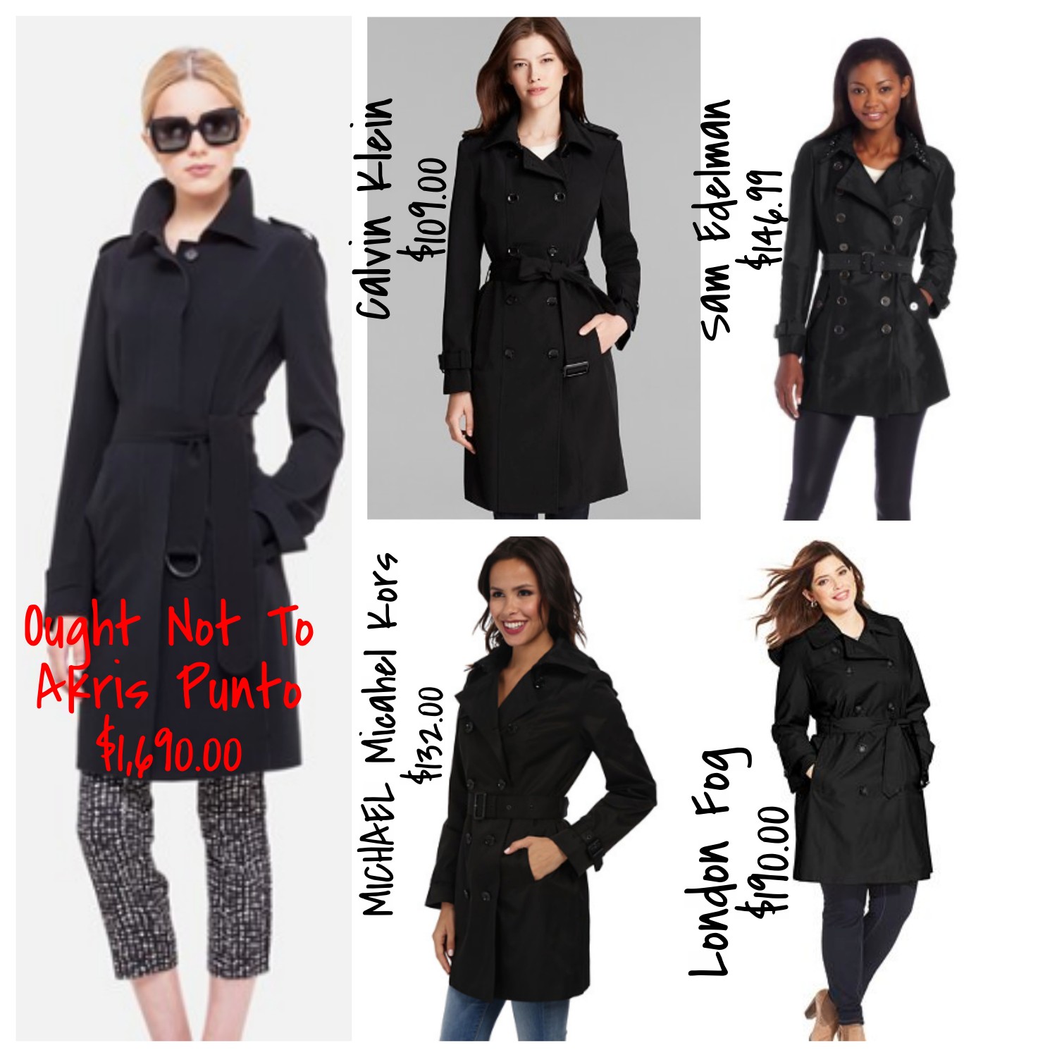 black trench coats- cheap and expensive